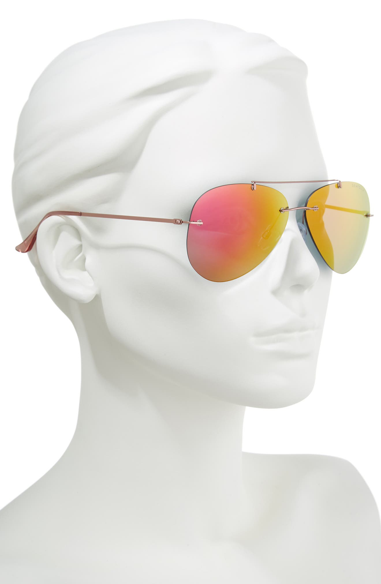 Redondo 61mm Rimless Aviator Sunglasses,                             Alternate thumbnail 2, color,                             Nectarine