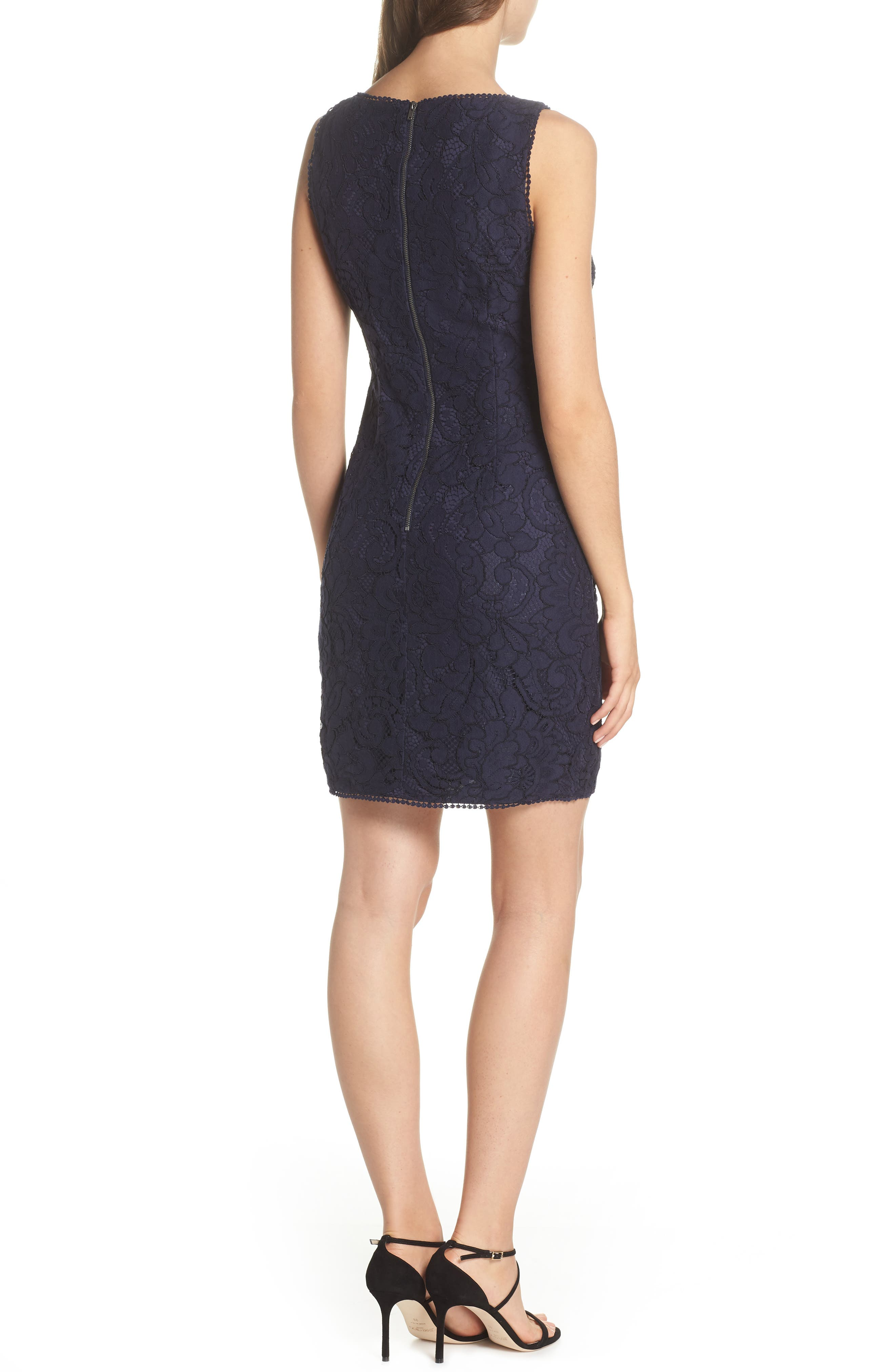 Lace Sheath Dress,                             Alternate thumbnail 2, color,                             Navy