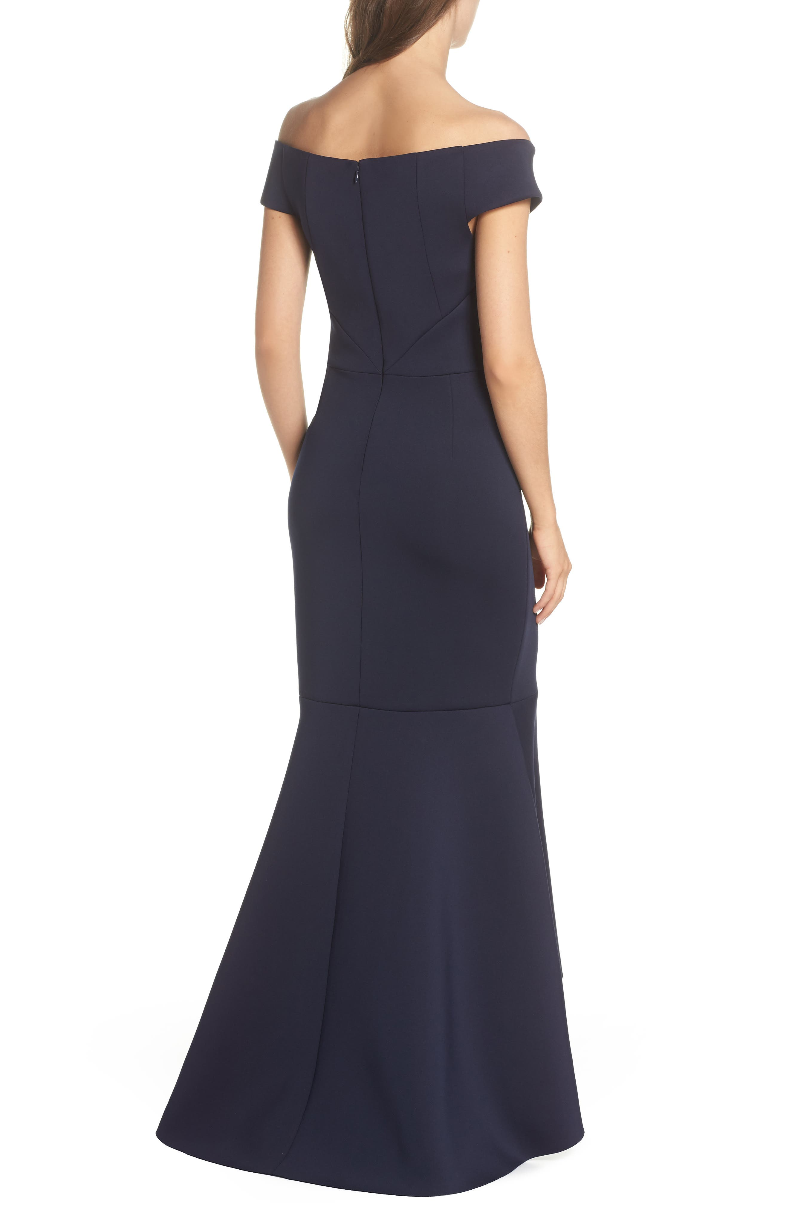 Off the Shoulder Trumpet Gown,                             Alternate thumbnail 2, color,                             Navy