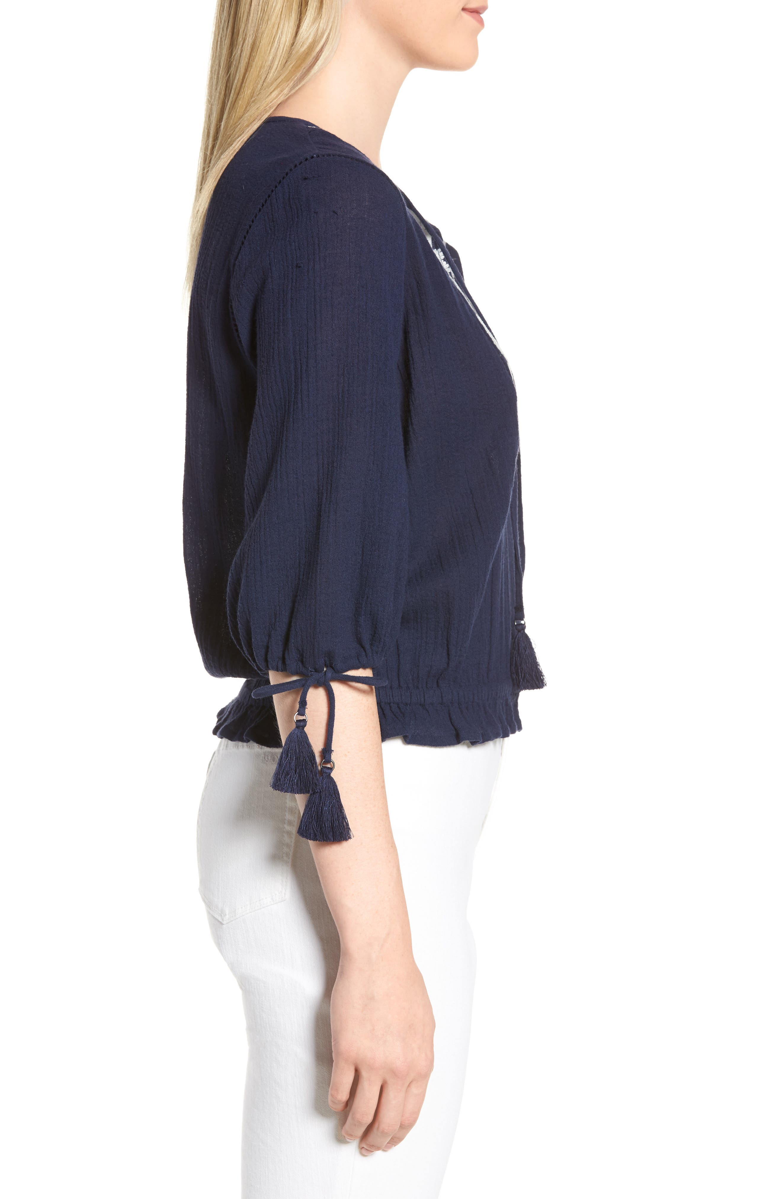 Embroidered Cotton Tassel Top,                             Alternate thumbnail 3, color,                             American Navy