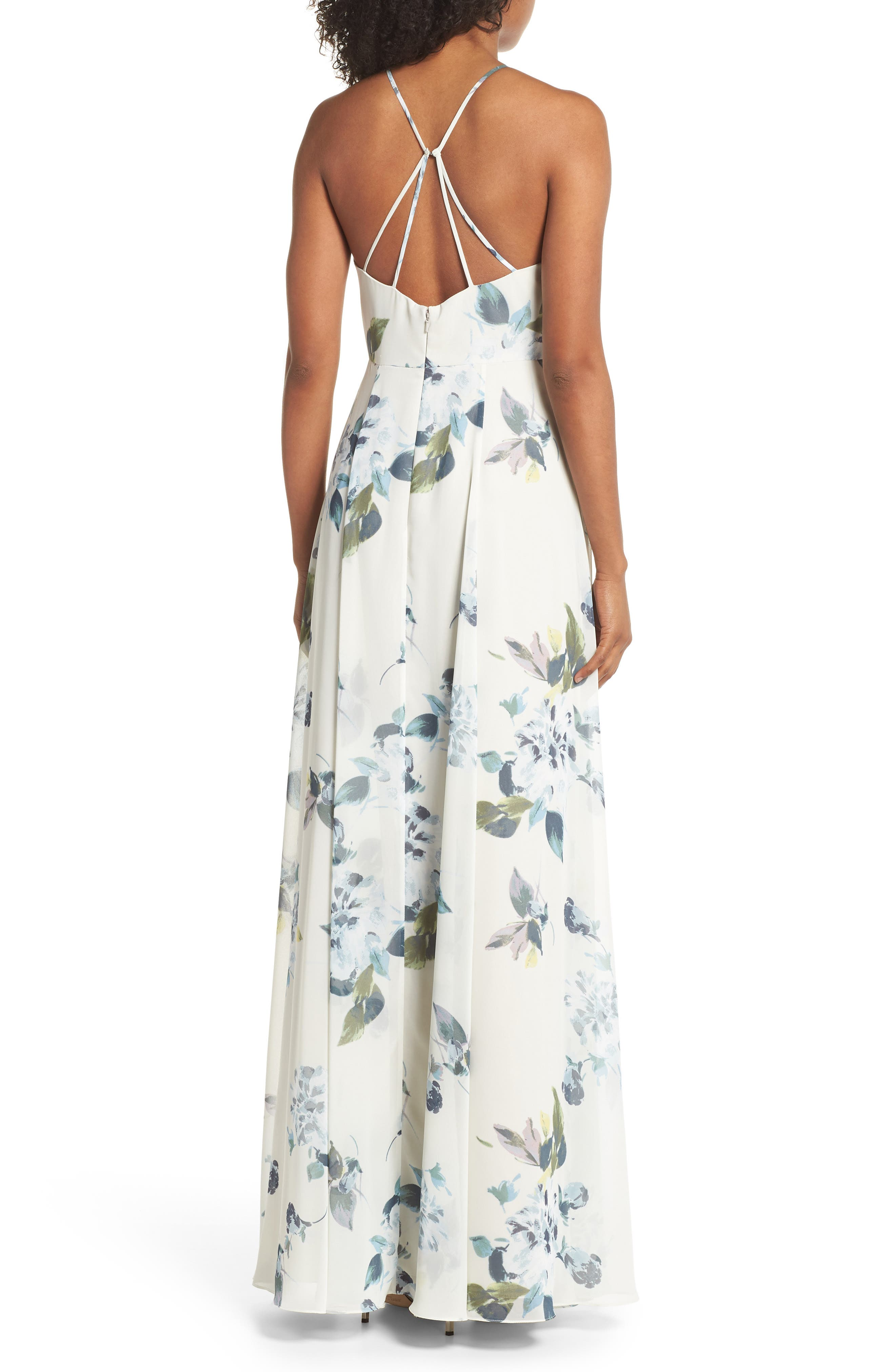 Collection Kayla Ohana Print Gown,                             Alternate thumbnail 2, color,                             Soft Sage Blue Multi
