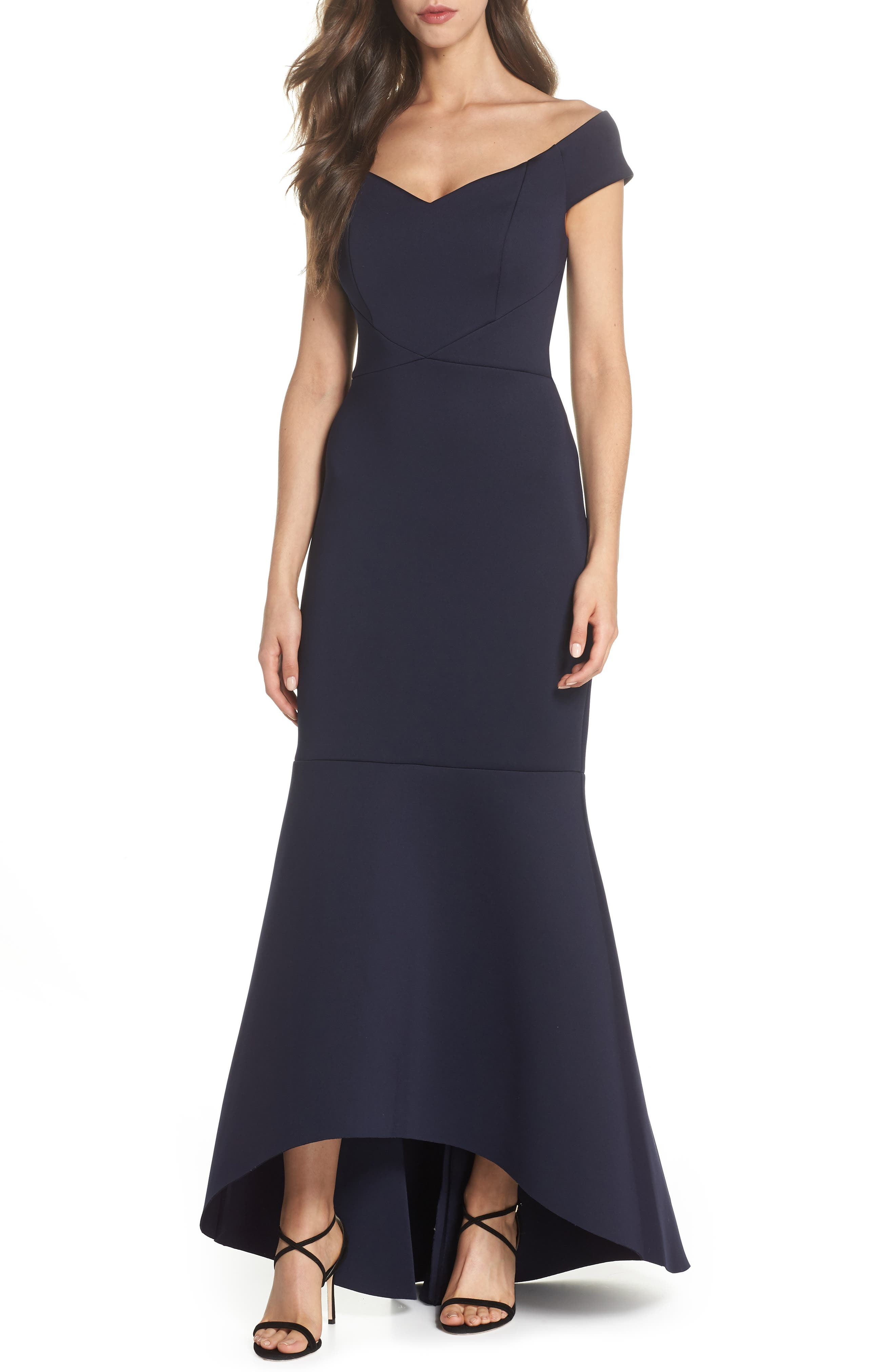Off the Shoulder Trumpet Gown,                             Main thumbnail 1, color,                             Navy