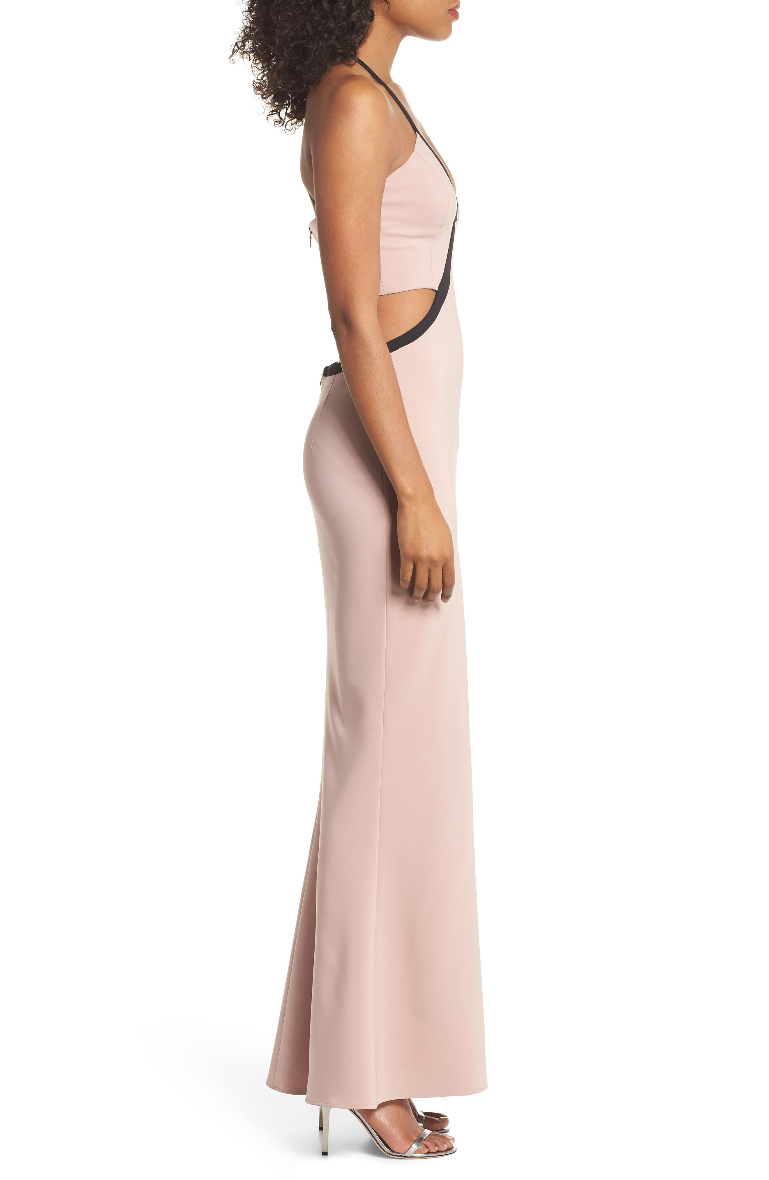 Chloe Bodice Cutout Gown,                             Alternate thumbnail 3, color,                             Blush