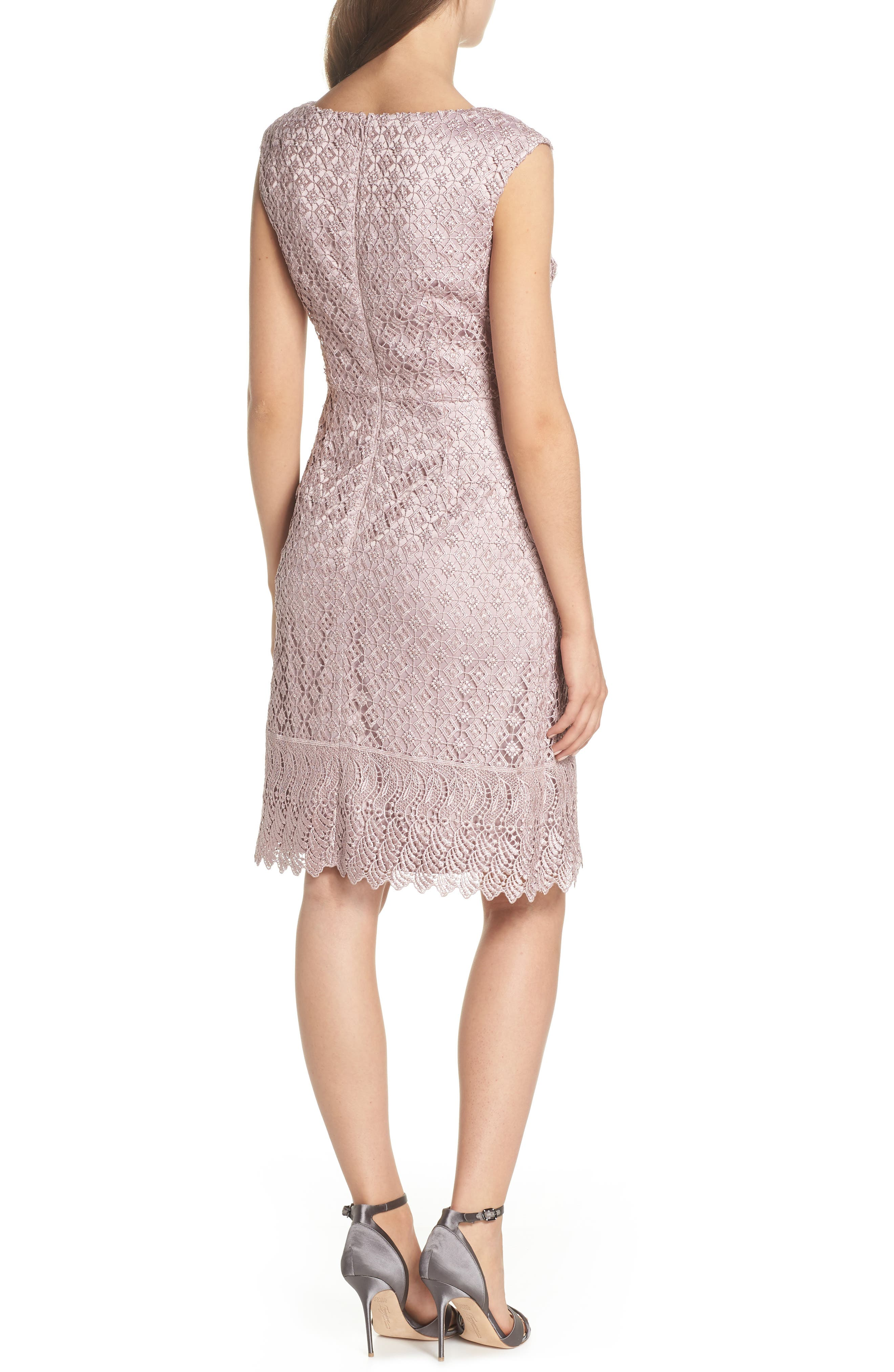 Guipure Lace Dress,                             Alternate thumbnail 2, color,                             Pink Sateen