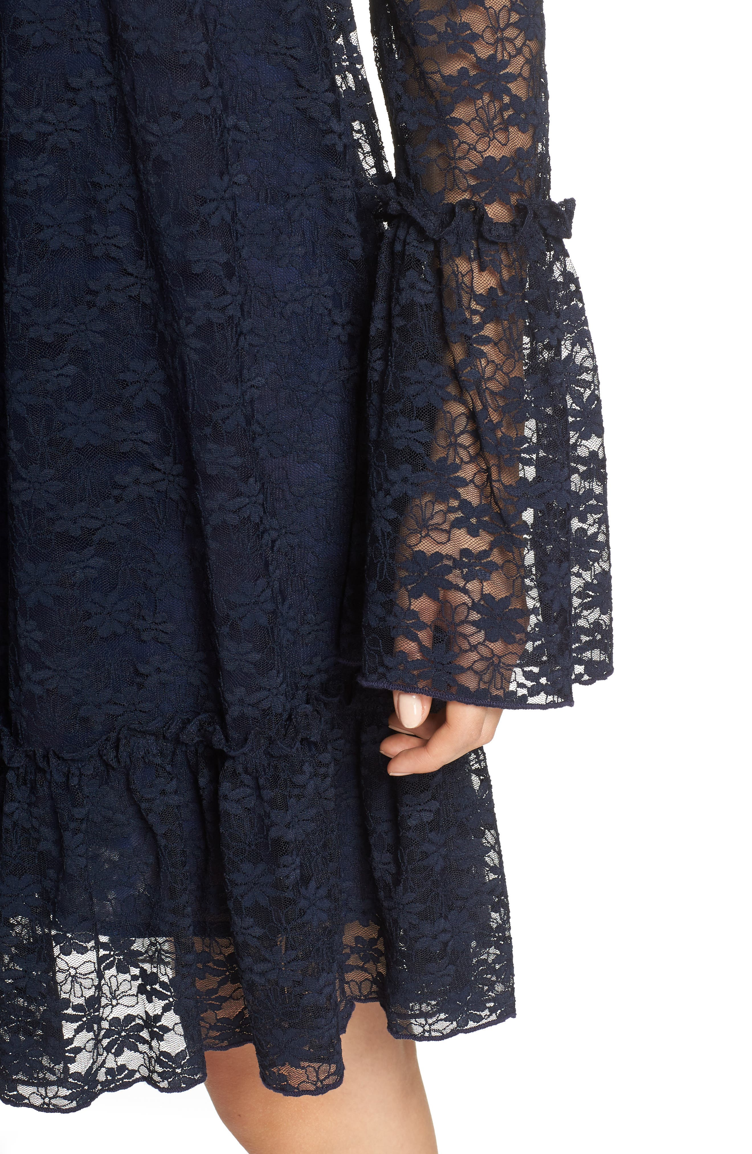 Flare Cuff Lace Dress,                             Alternate thumbnail 4, color,                             True Navy