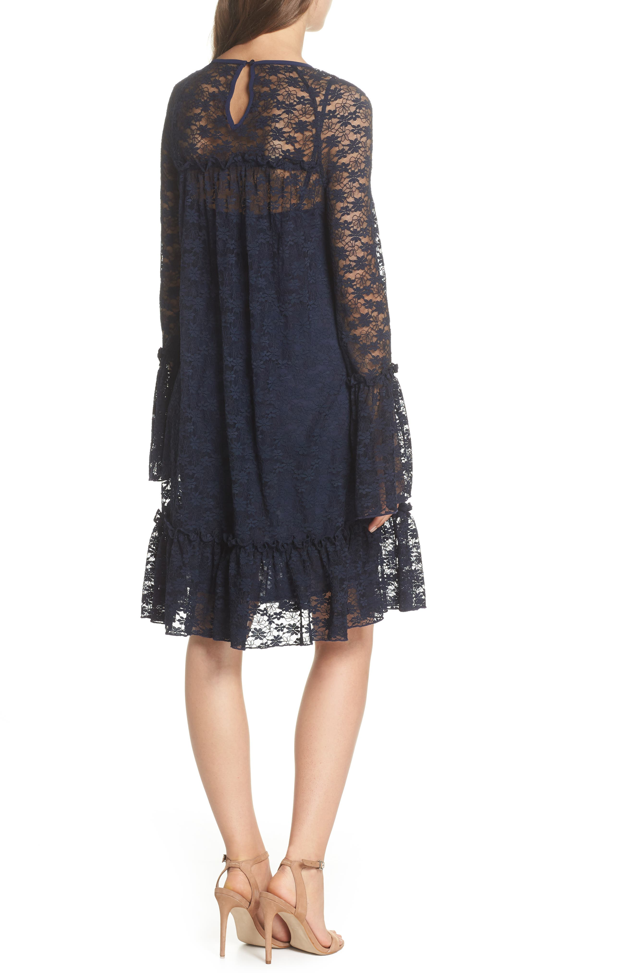 Flare Cuff Lace Dress,                             Alternate thumbnail 2, color,                             True Navy