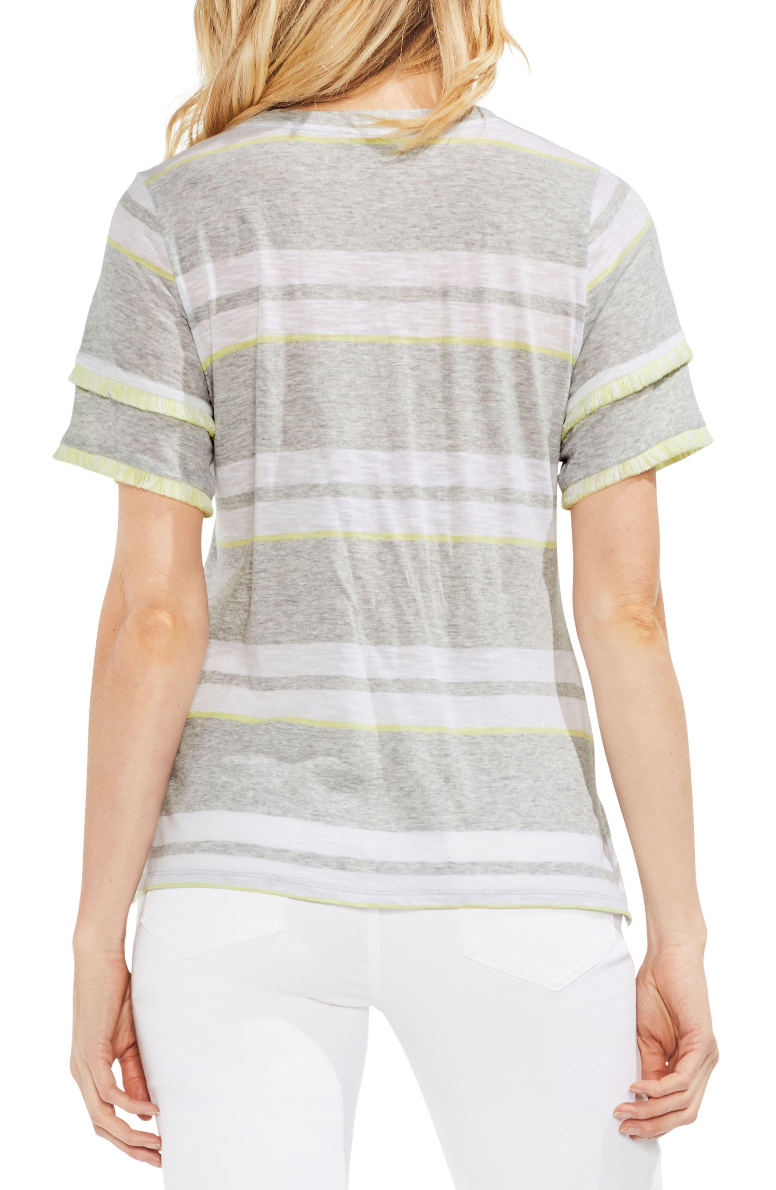 Fringe Sleeve Stadium Stripe Cotton Blend Top,                             Alternate thumbnail 2, color,                             Grey Heather