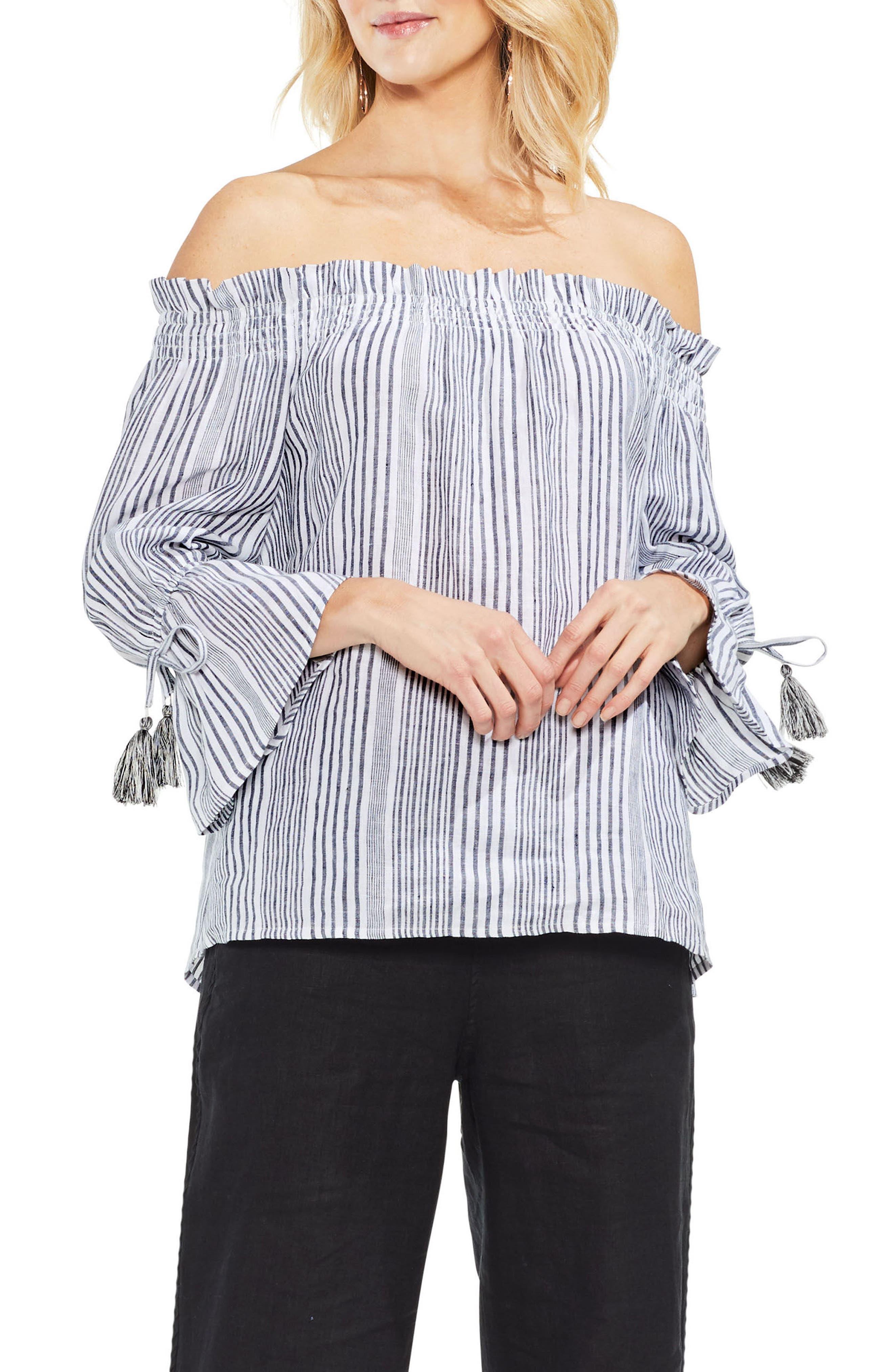 Linen Stripe Statement Sleeve Top,                             Main thumbnail 1, color,                             Rich Black