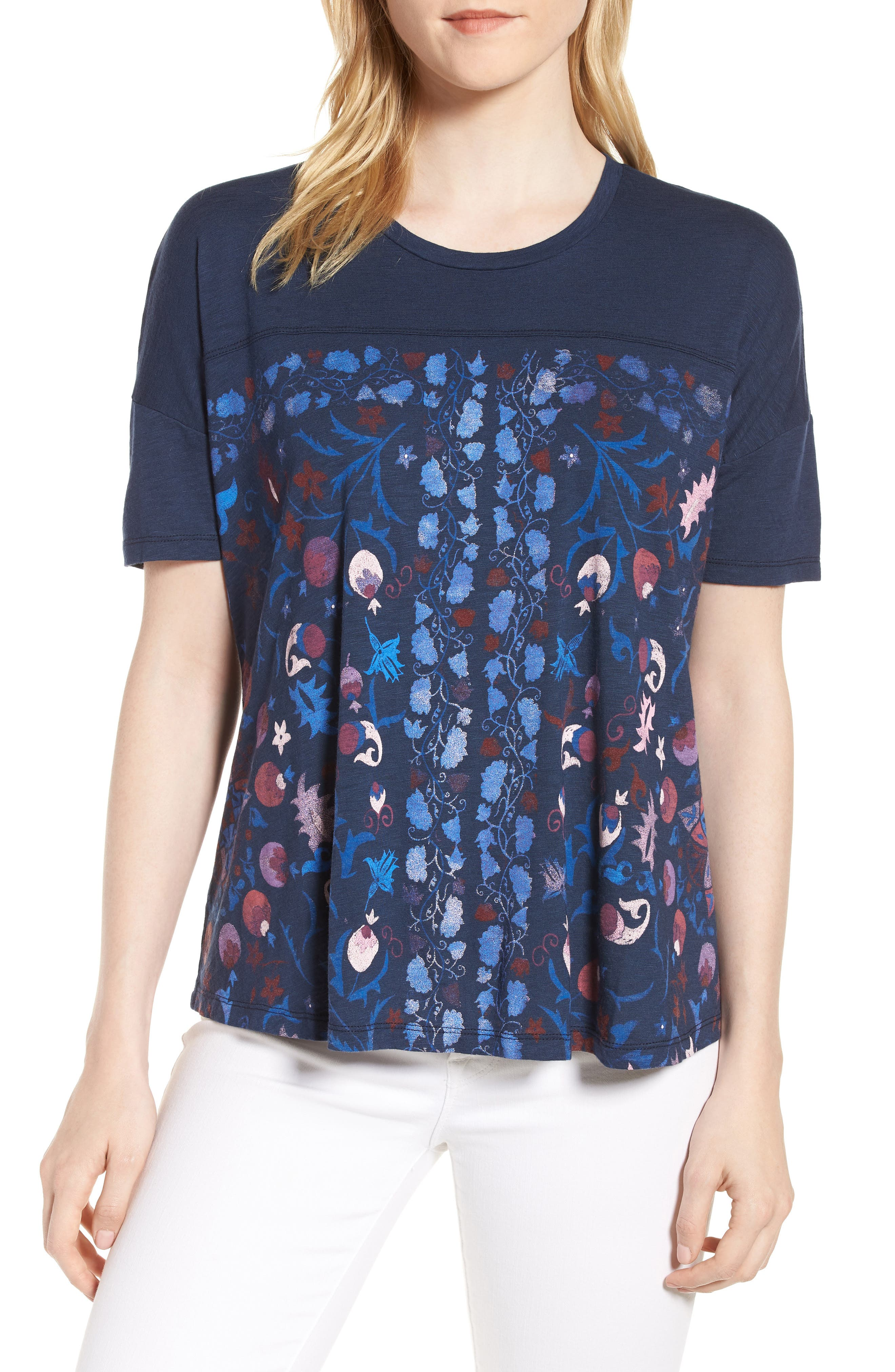 Floral Print Tee,                         Main,                         color, American Navy