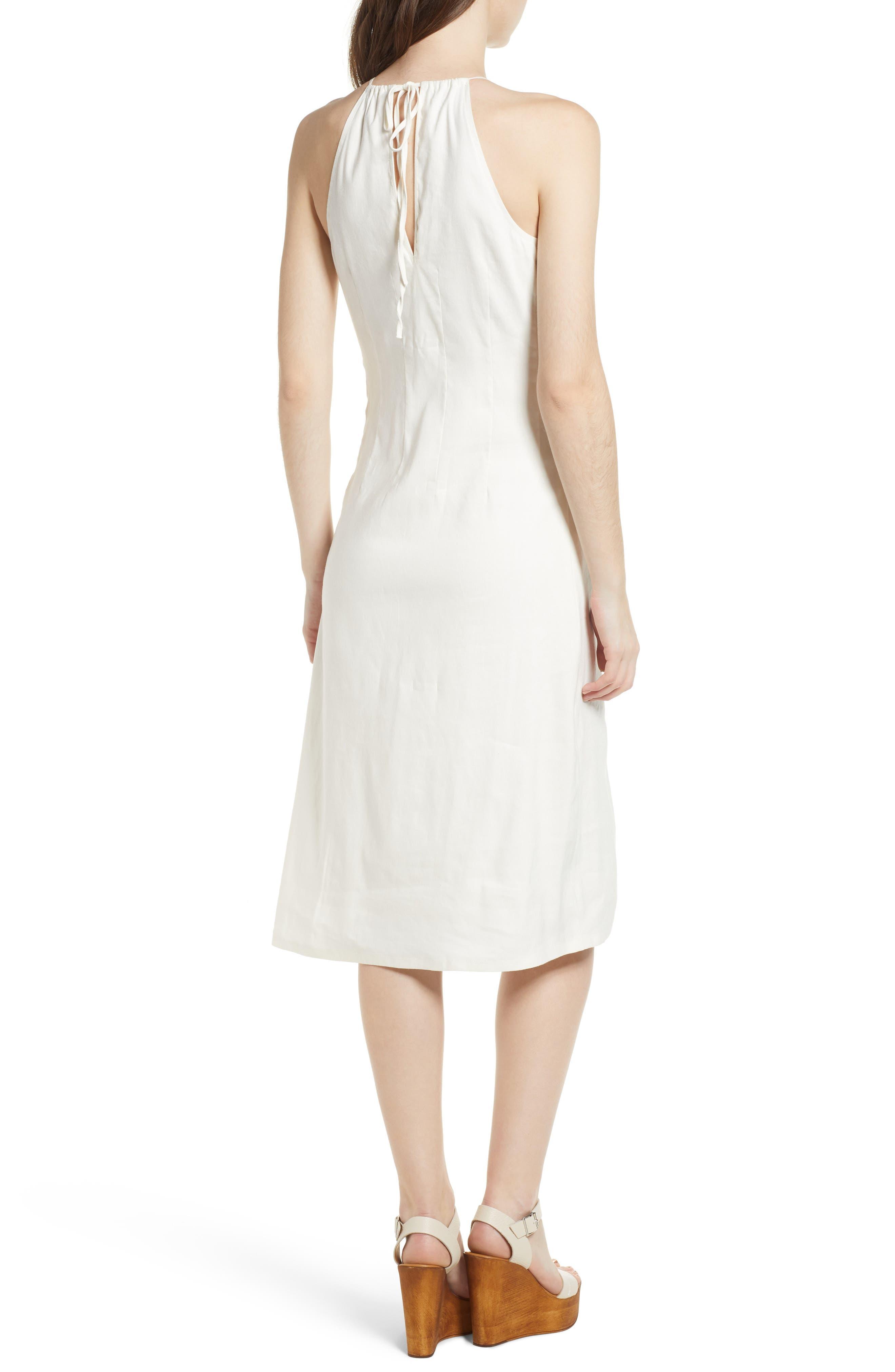 Halter Midi Dress,                             Alternate thumbnail 2, color,                             Ivory