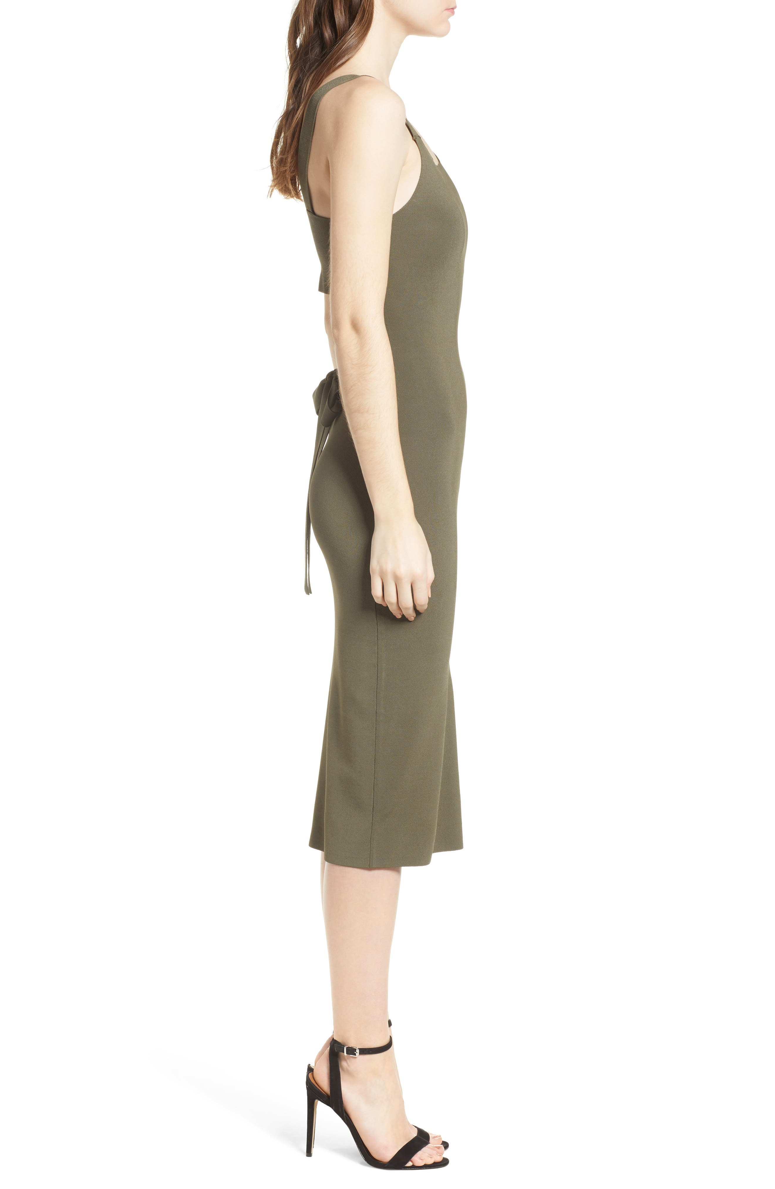 Strappy Back Sweater Dress,                             Alternate thumbnail 3, color,                             Olive Sarma