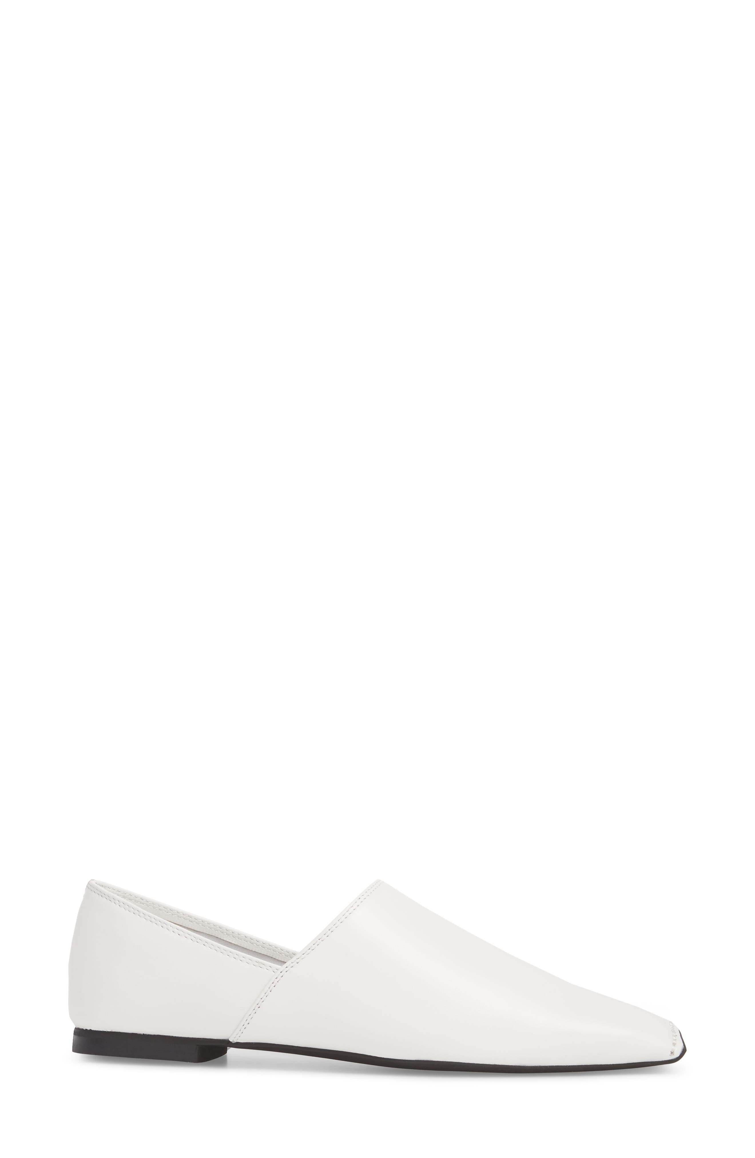 Lanvale Blunted Toe Flat,                             Alternate thumbnail 3, color,                             White