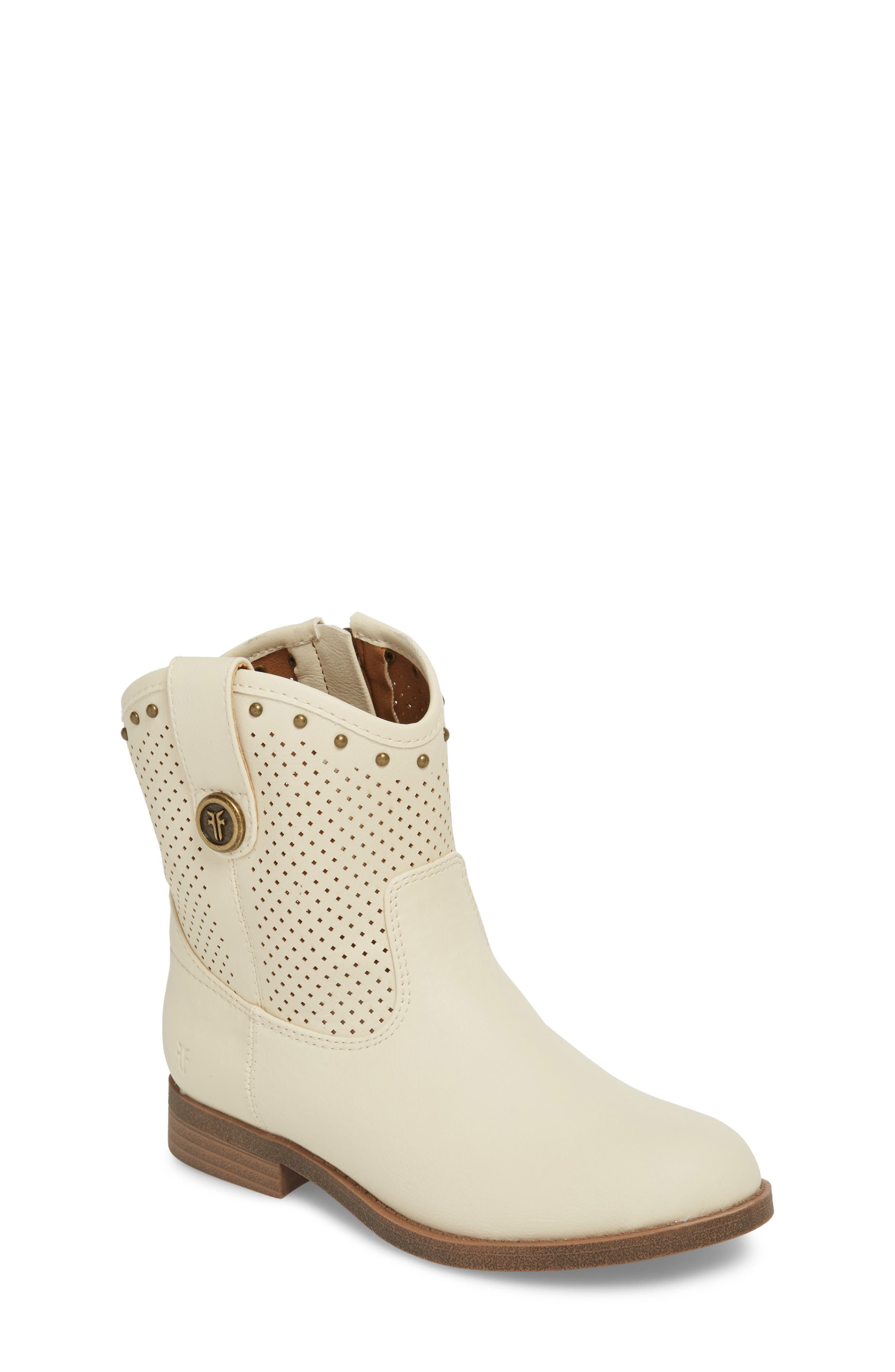 Melissa Perforated Button Boot,                             Main thumbnail 1, color,                             White