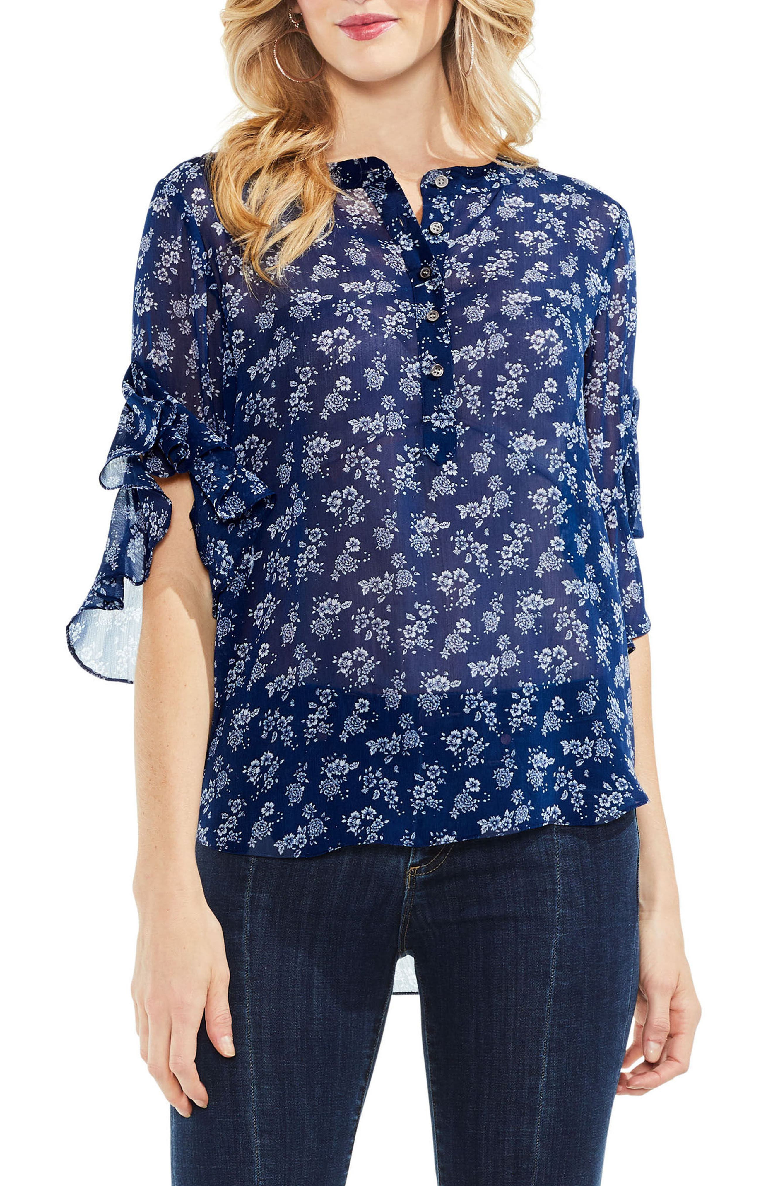 Ruffle Sleeve Floral Top,                         Main,                         color, High Tide