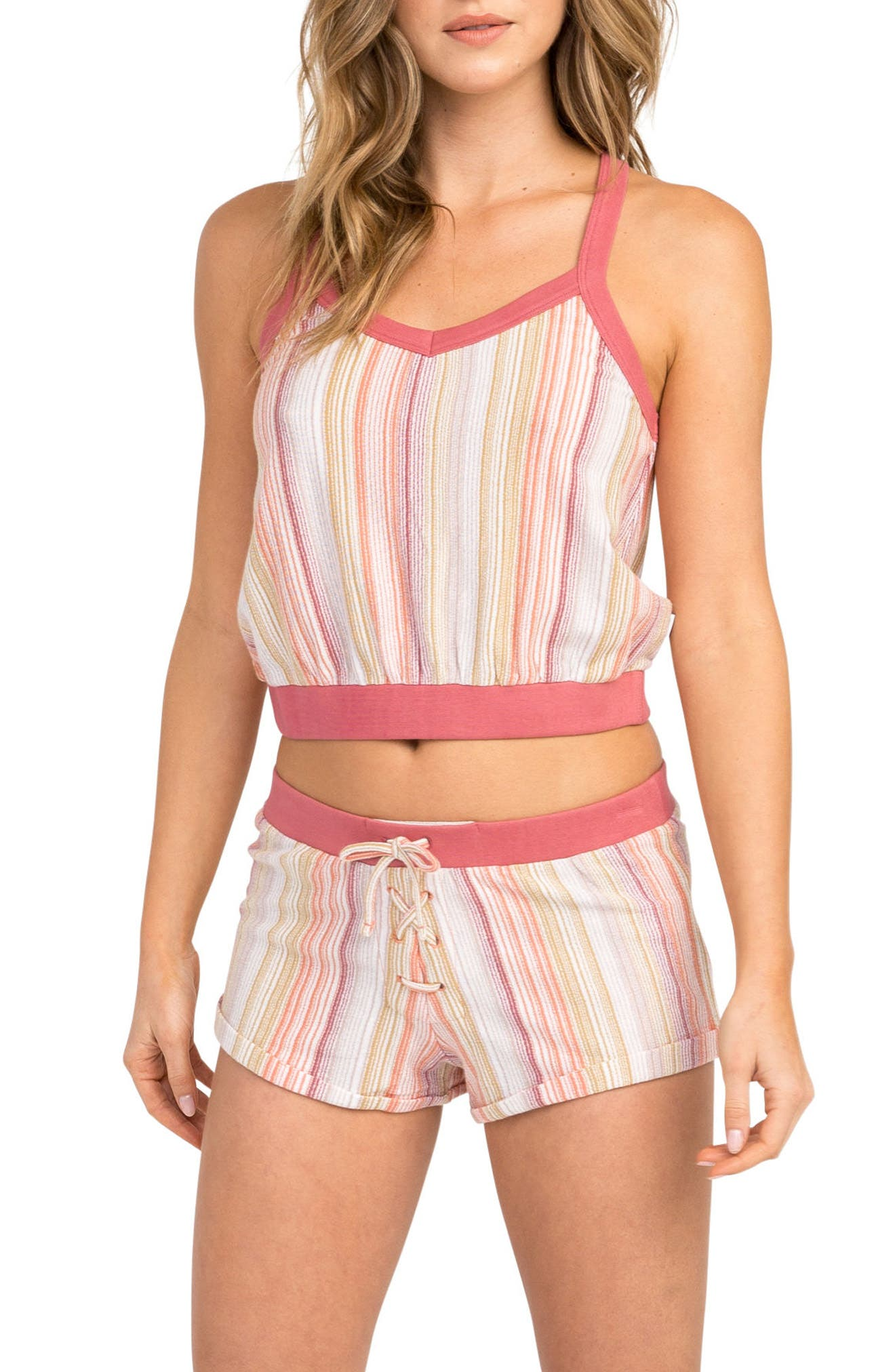 Play Up Stripe Crop Top,                         Main,                         color, Horizon Red