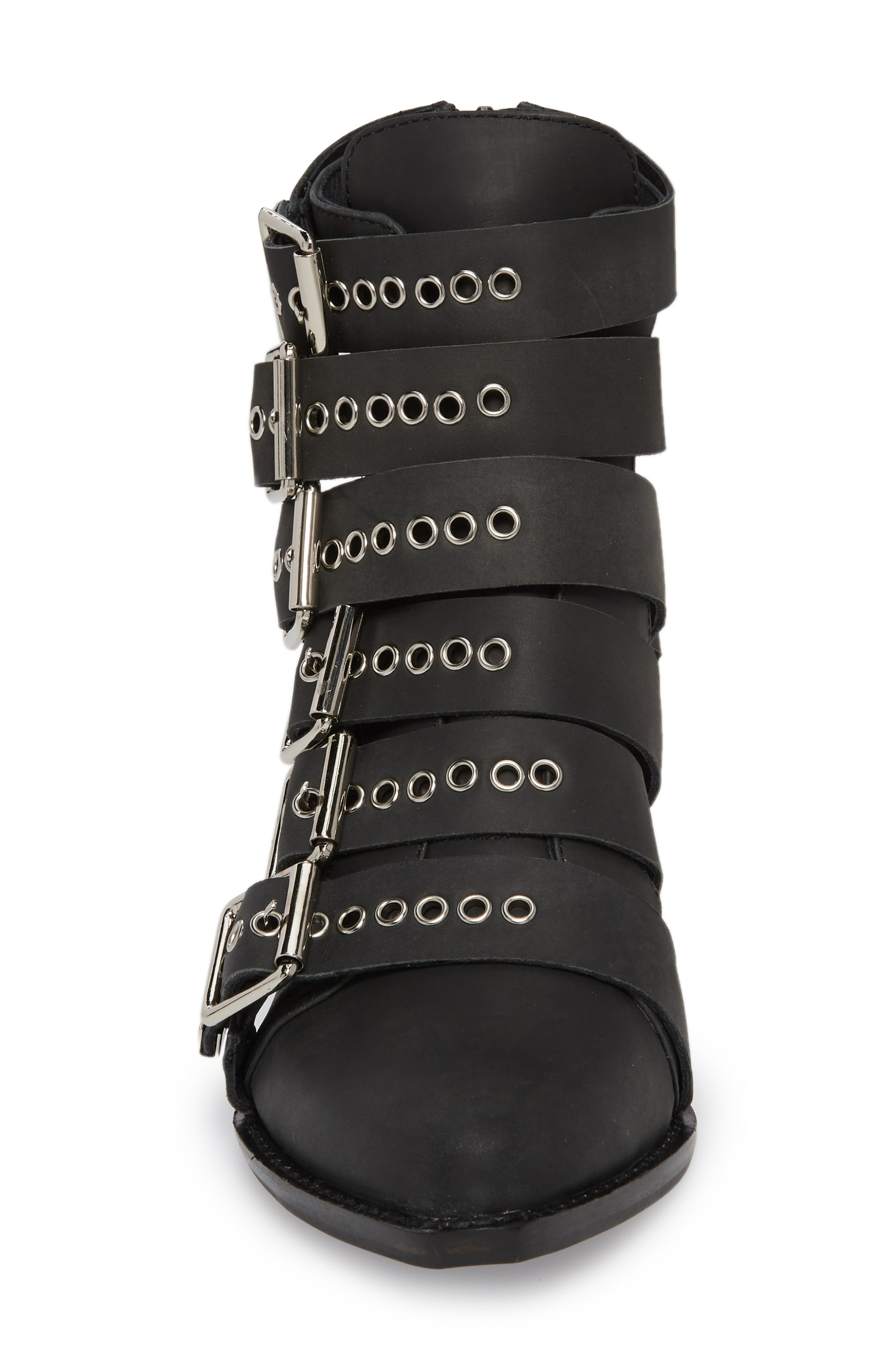 Disturbed Moto Buckle Bootie,                             Alternate thumbnail 4, color,                             Black Washed
