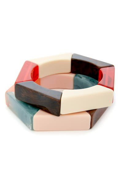 Main Image - Sole Society Set of 2 Hexagonal Stretch Bangles