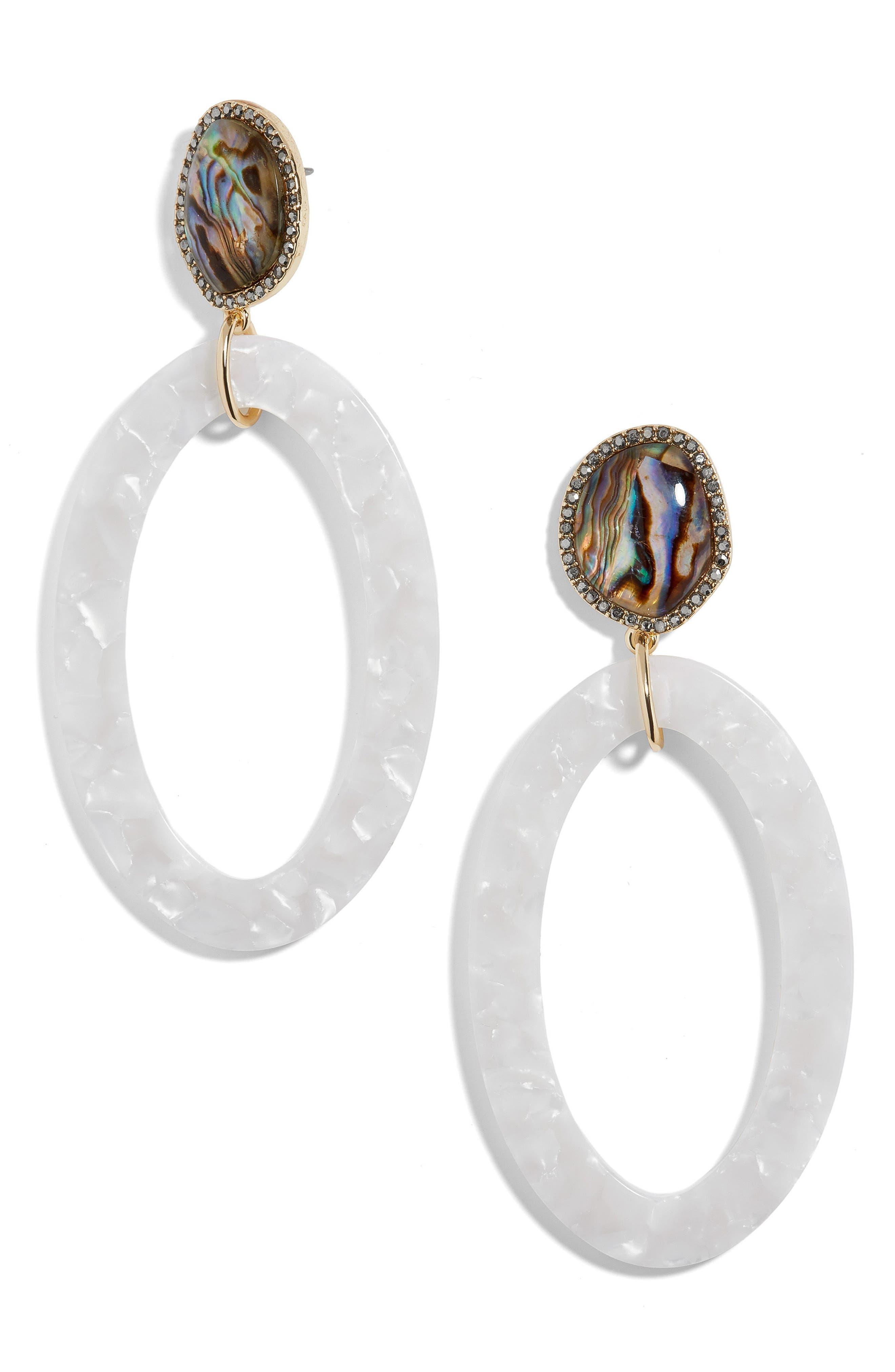 Trisha Drusy & Oval Drop Earrings,                             Main thumbnail 1, color,                             Navy