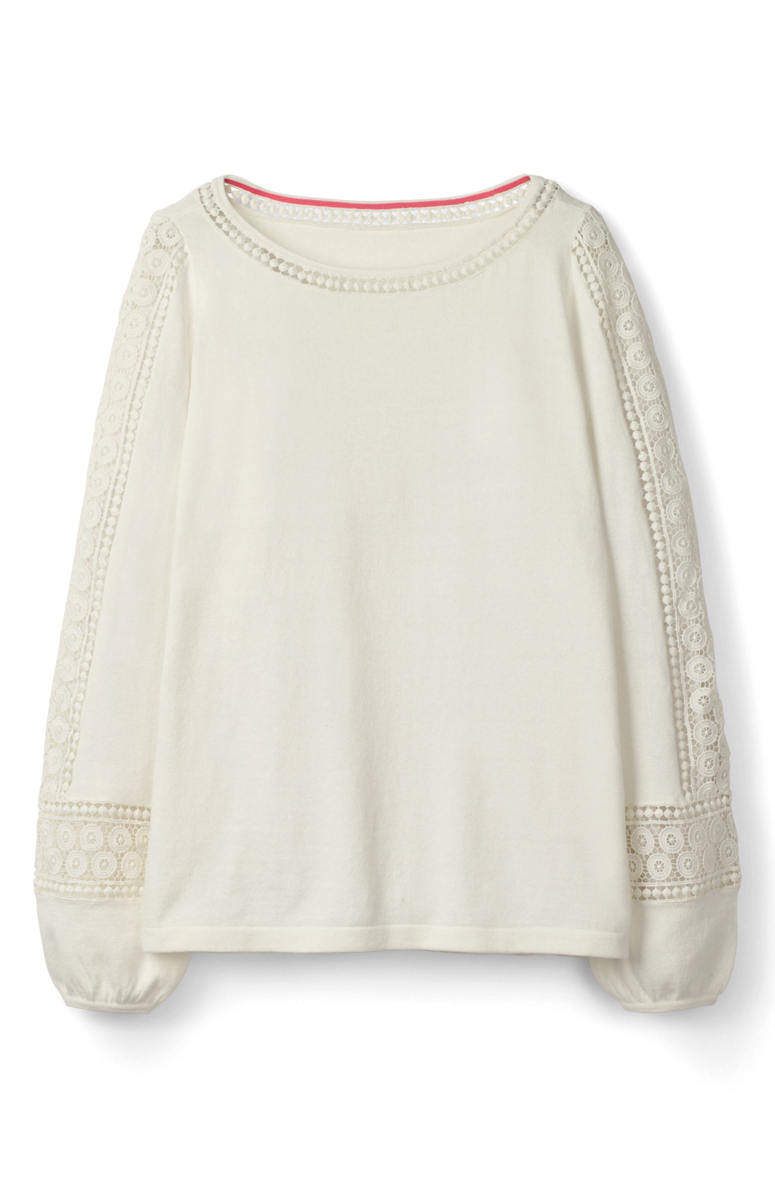 Lace Inset Cotton Sweater,                             Alternate thumbnail 7, color,                             Ivory