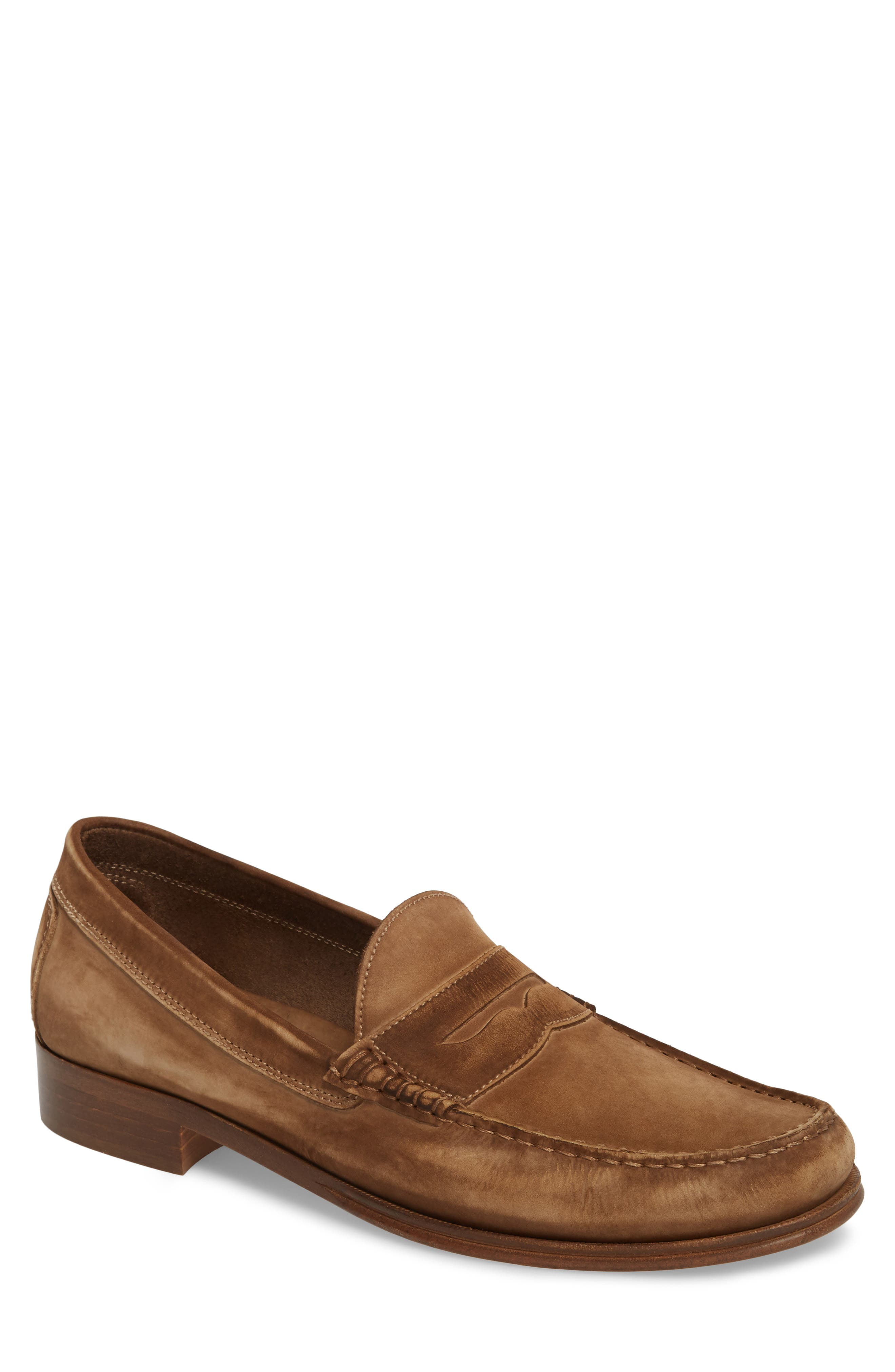 Nicola Penny Loafer,                             Main thumbnail 1, color,                             Chocolate Nubuck Leather