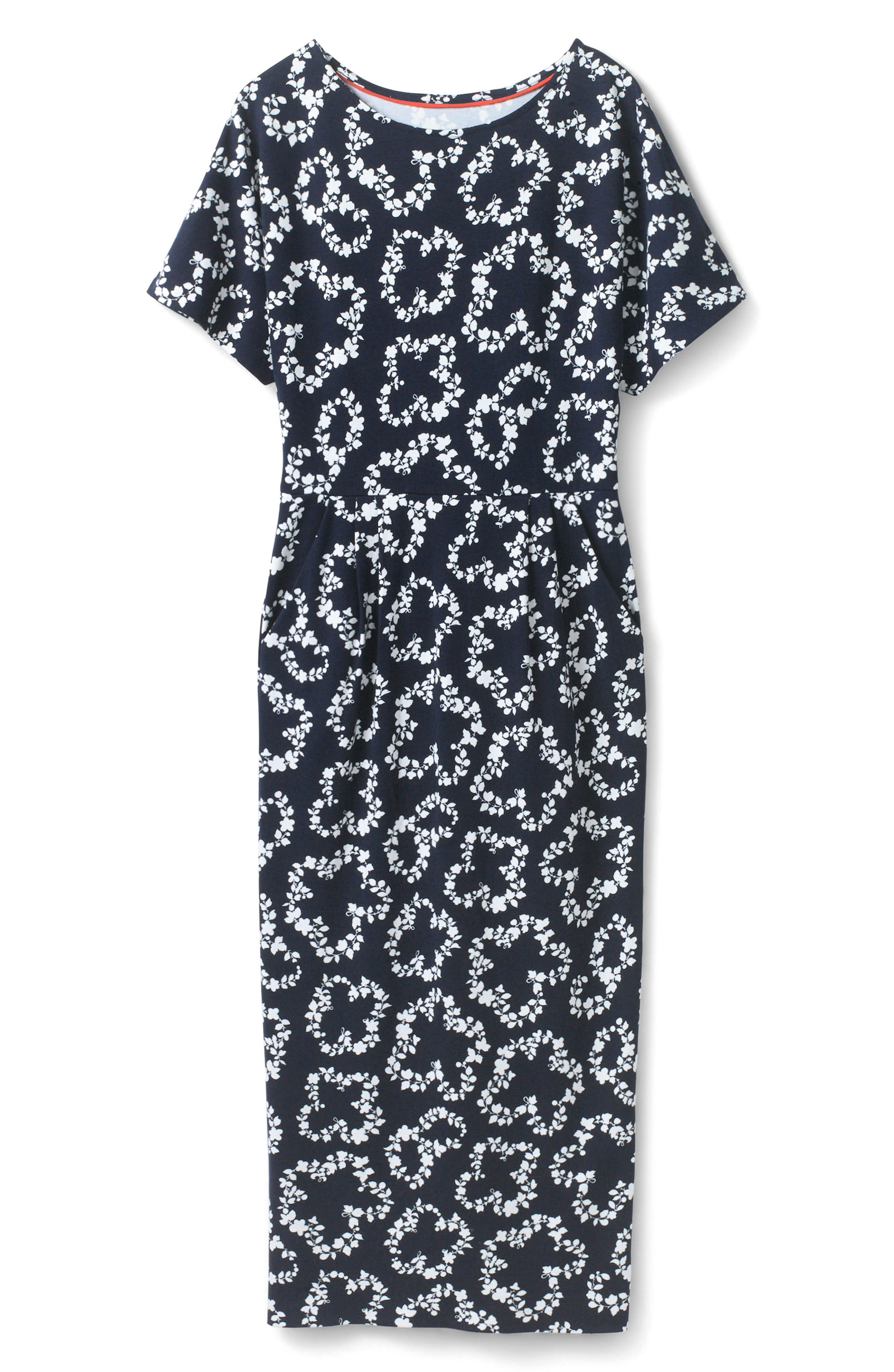 Fluted Sleeve Midi Dress,                         Main,                         color, Navy Garland