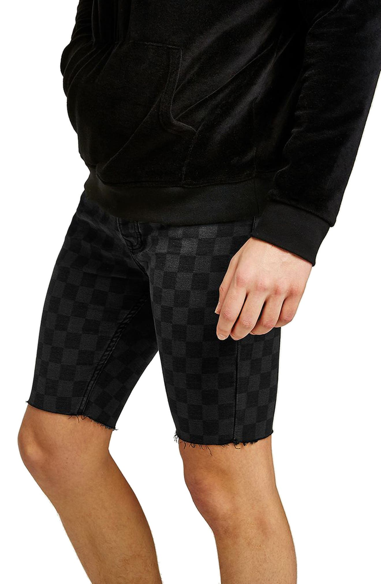 Stretch Skinny Fit Check Denim Shorts,                             Alternate thumbnail 3, color,                             Black