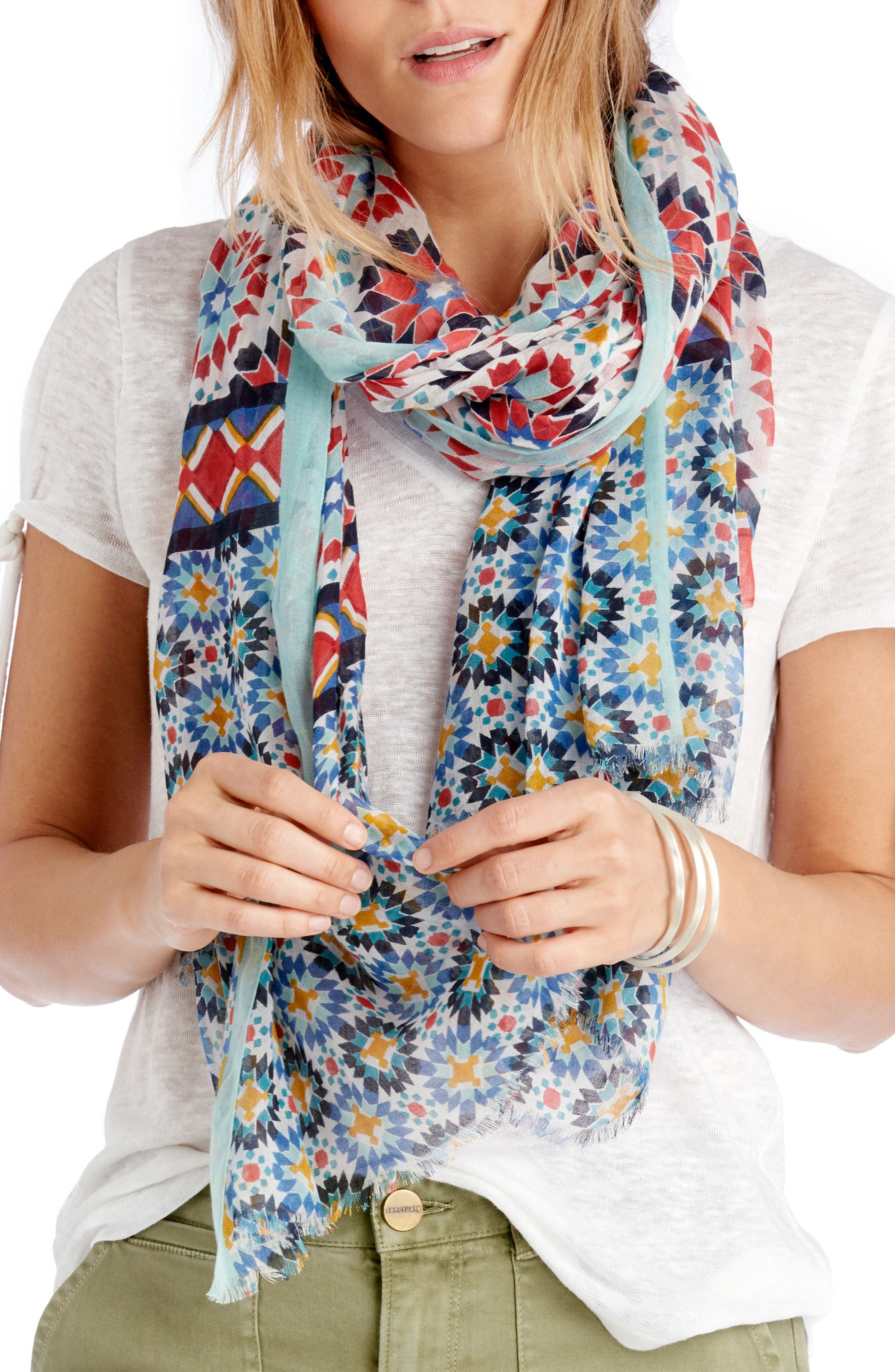 Sole Society Mixed Tile Print Scarf