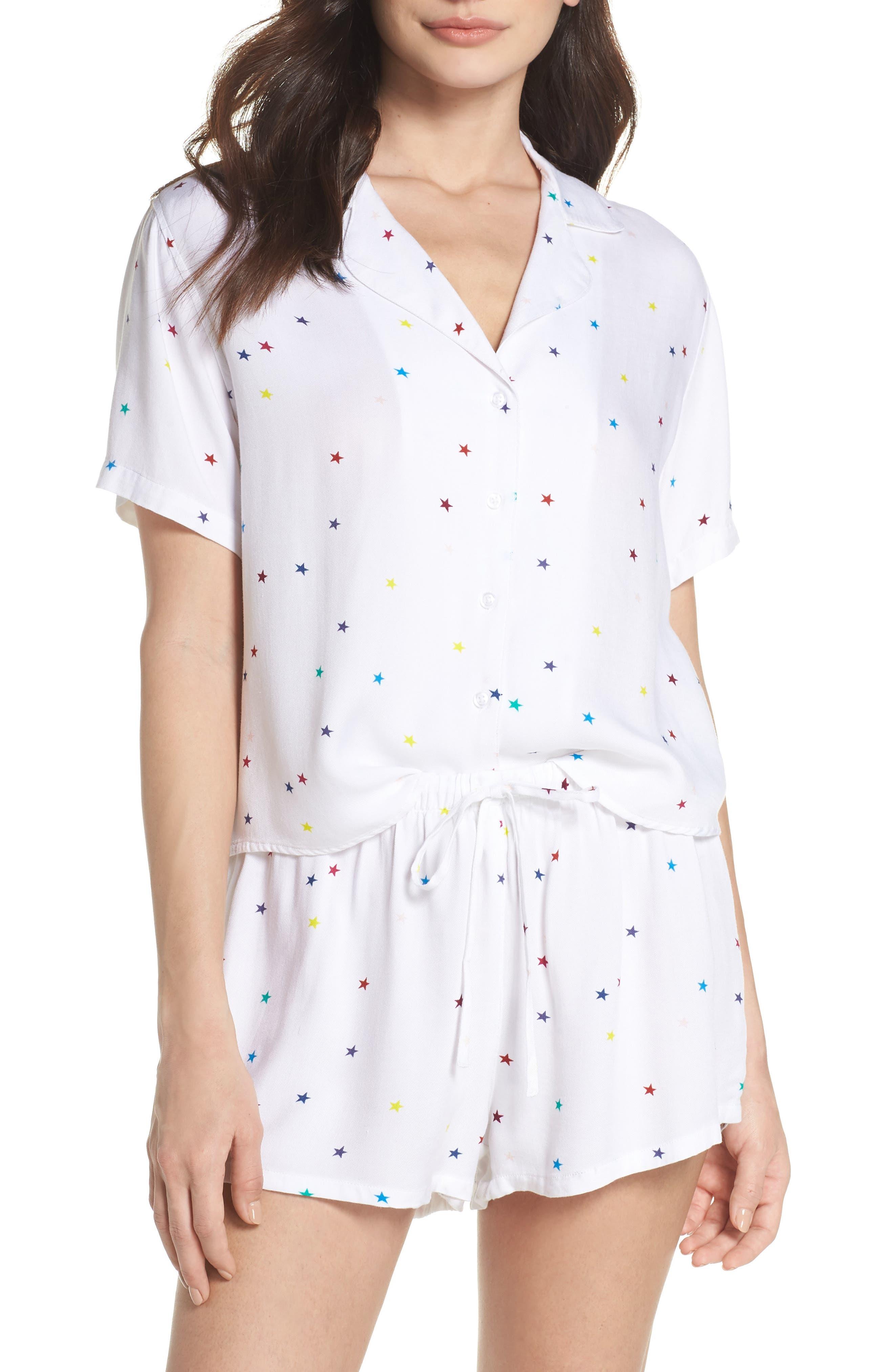 Star Print Short Pajamas,                             Main thumbnail 1, color,                             Rainbow Stars On White