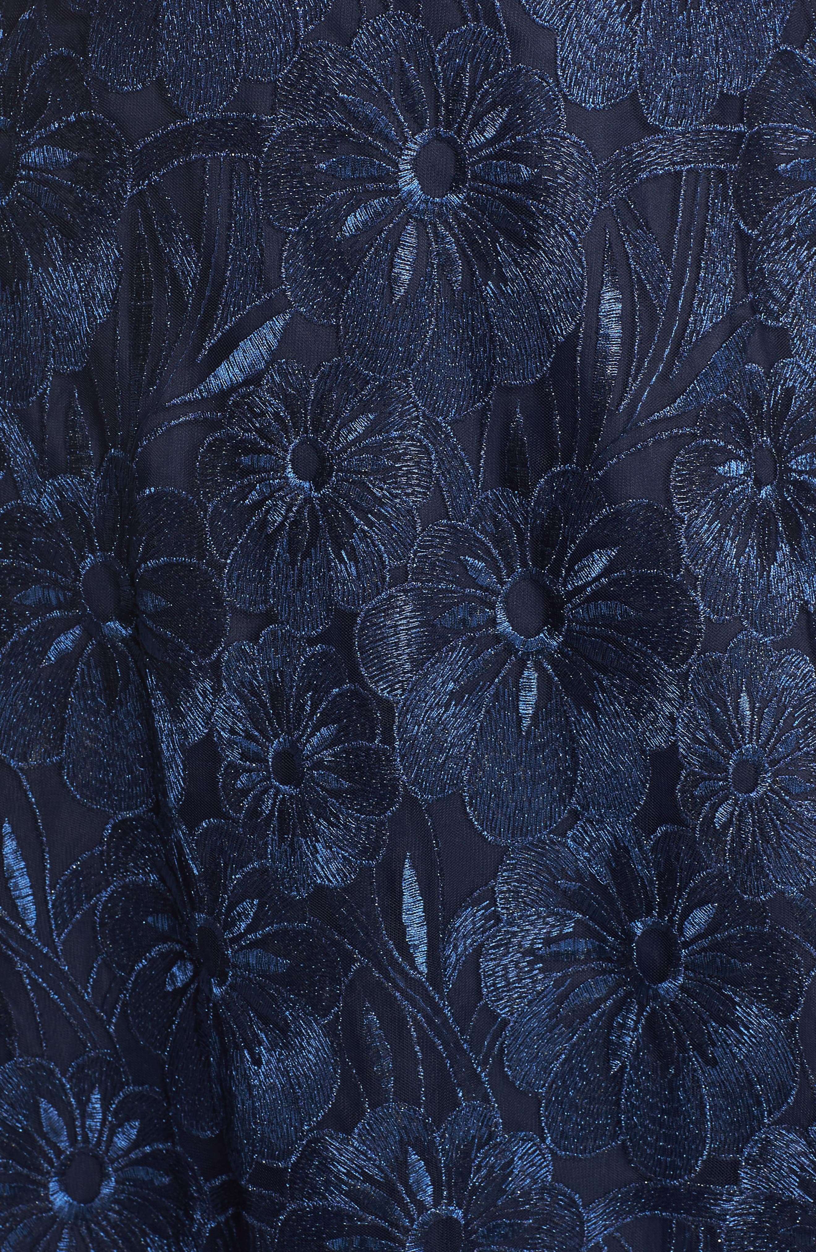Flower Embroidered Gown,                             Alternate thumbnail 5, color,                             Midnight