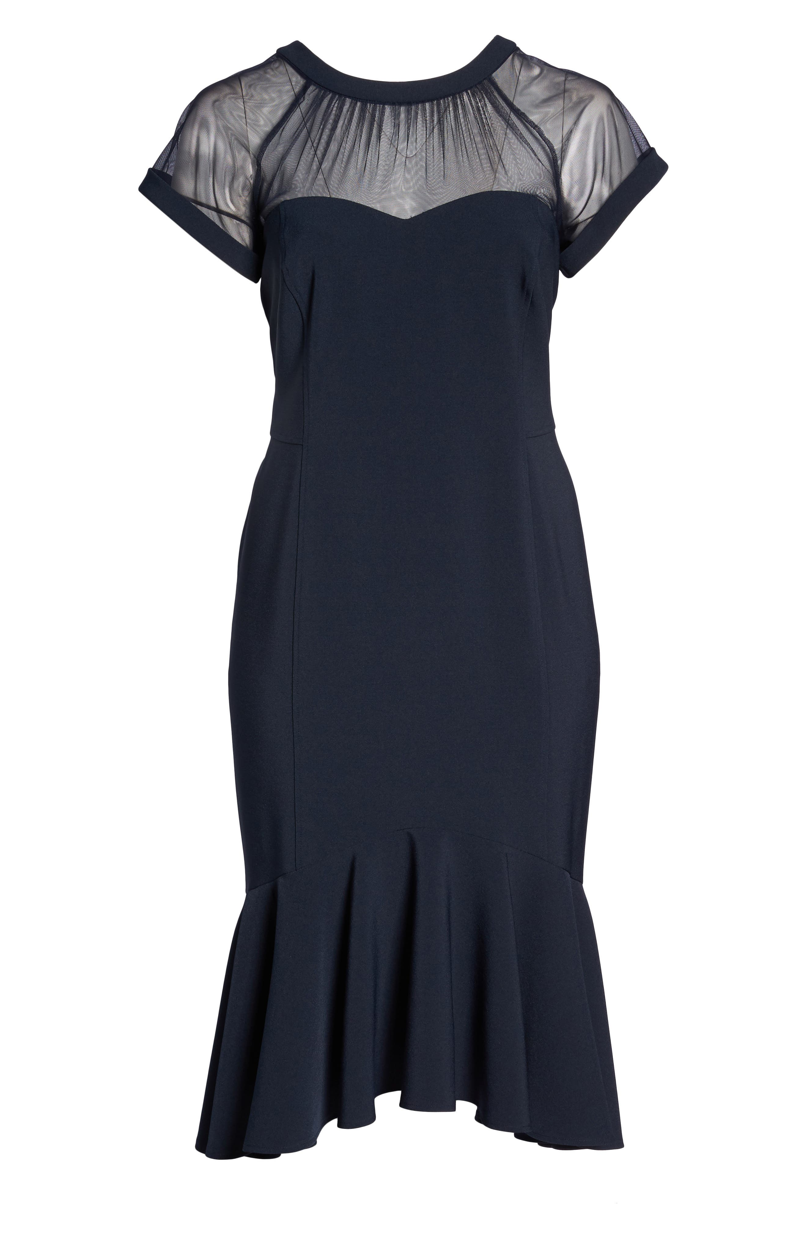 Illusion Flare Hem Midi Dress,                             Alternate thumbnail 6, color,                             Dark Navy