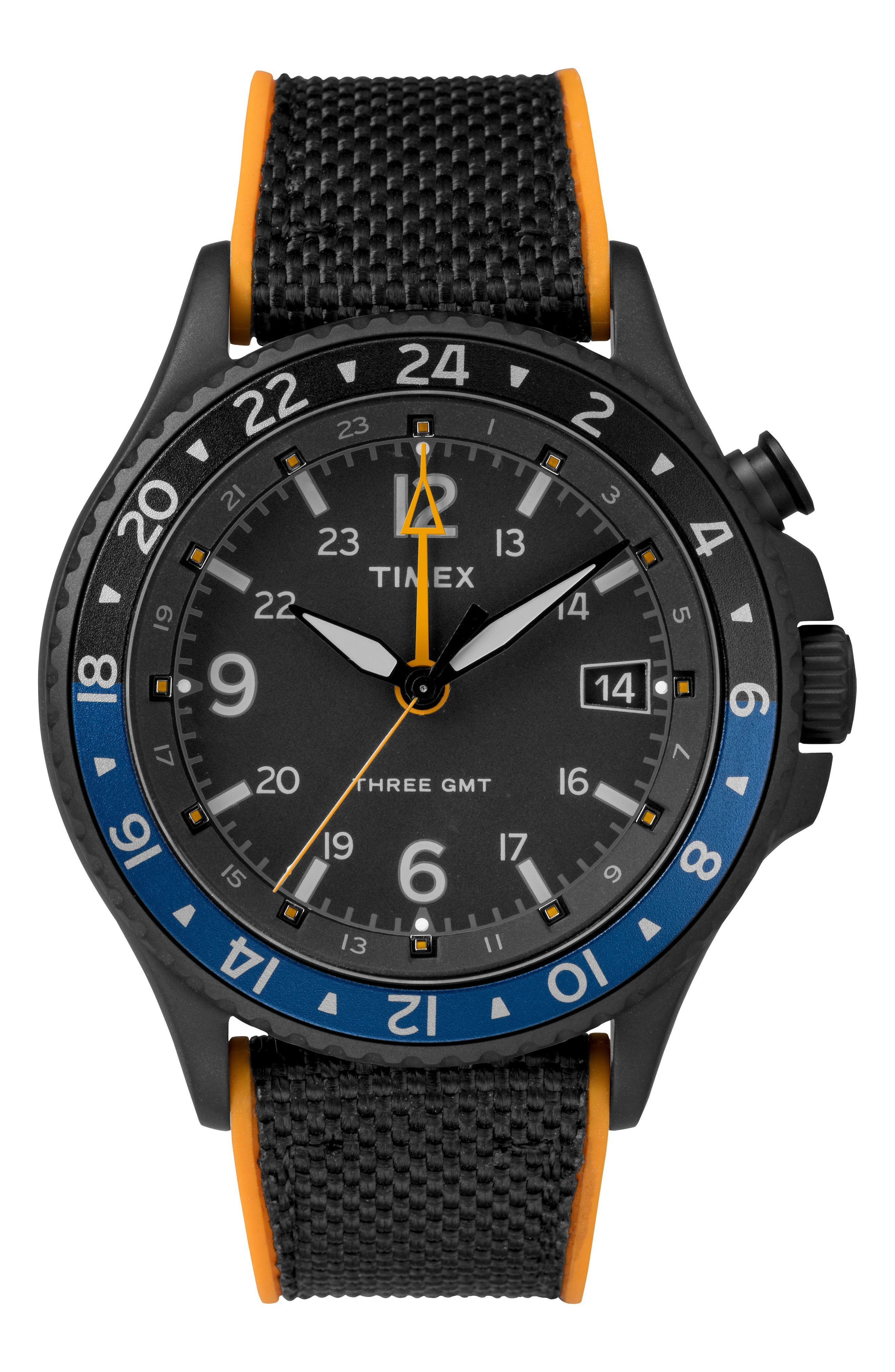Allied Silicone Strap Watch, 43mm,                             Main thumbnail 1, color,                             Black/ Orange