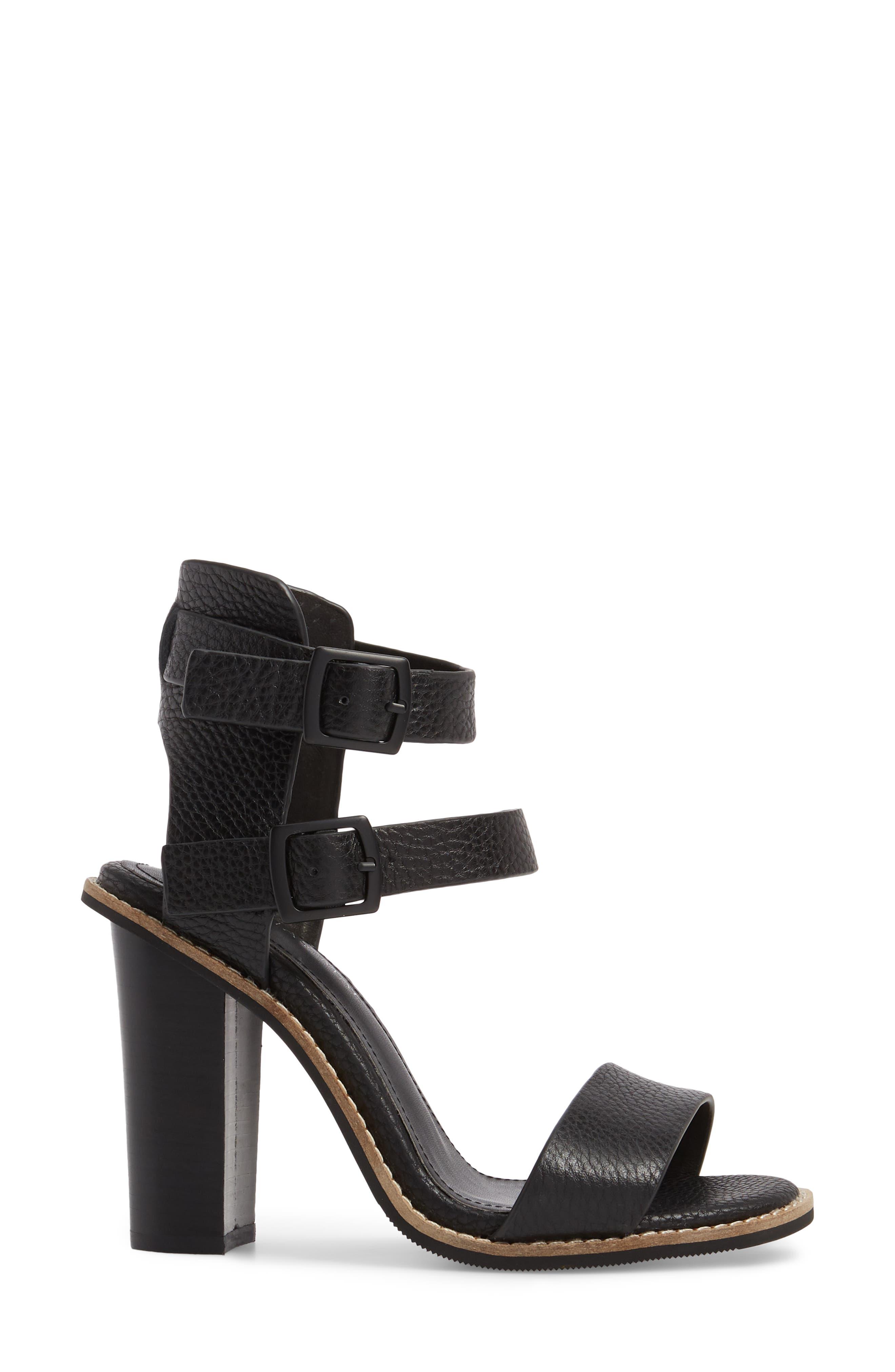 Casper Tall Sandal,                             Alternate thumbnail 3, color,                             Black Leather
