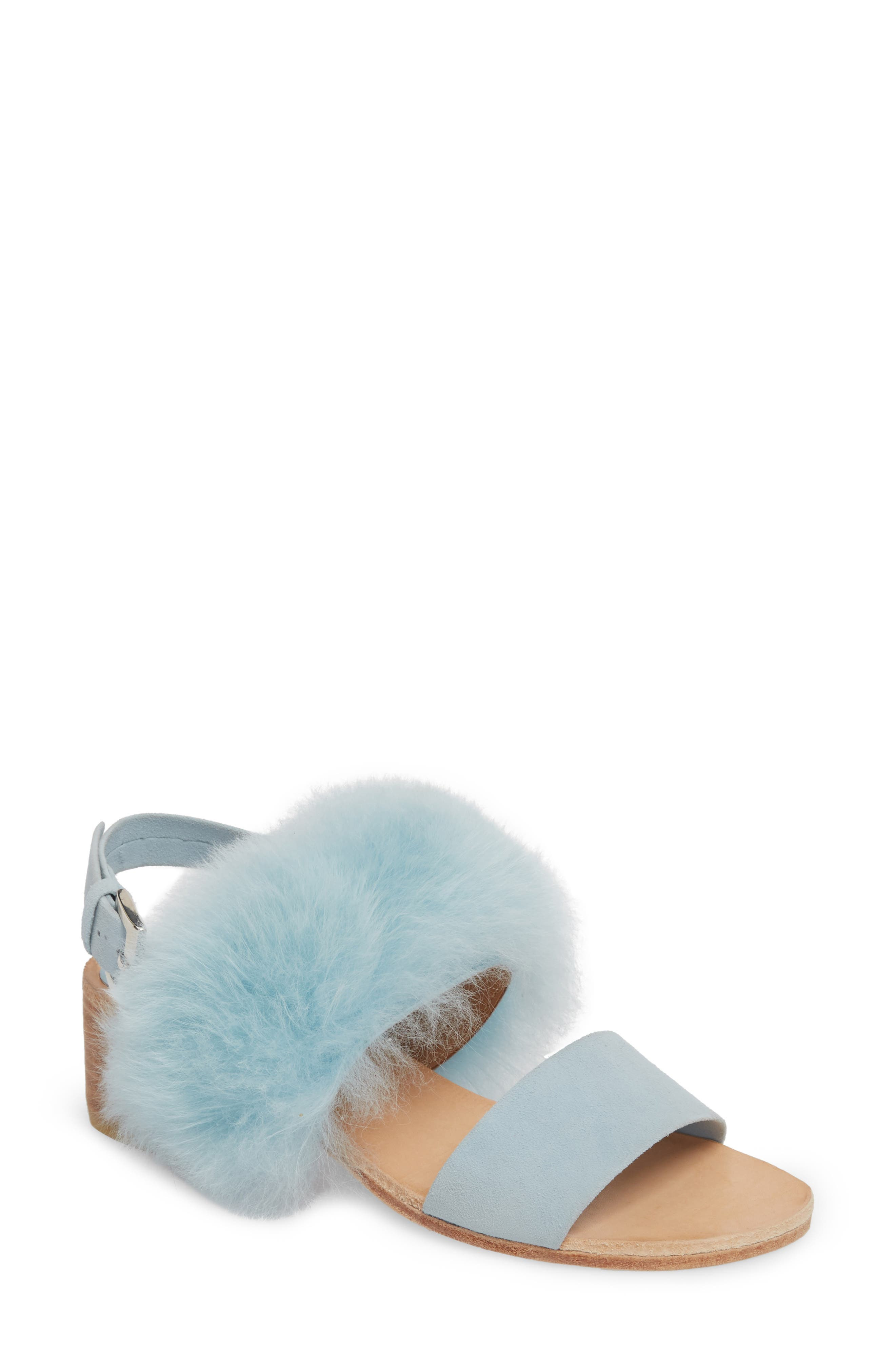 Clemence Genuine Alpaca Fur Sandal,                             Main thumbnail 1, color,                             Pastel Blue Suede