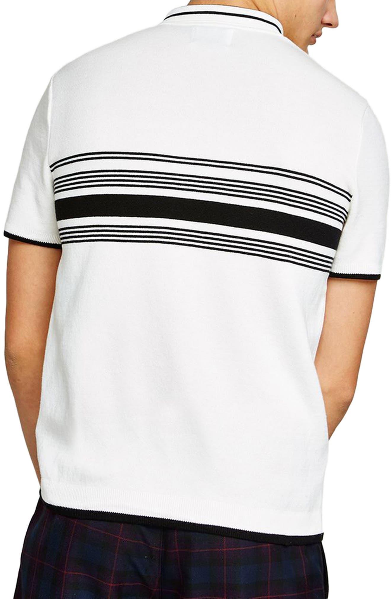 Slim Fit Stripe Knit Polo,                             Alternate thumbnail 2, color,                             White Multi