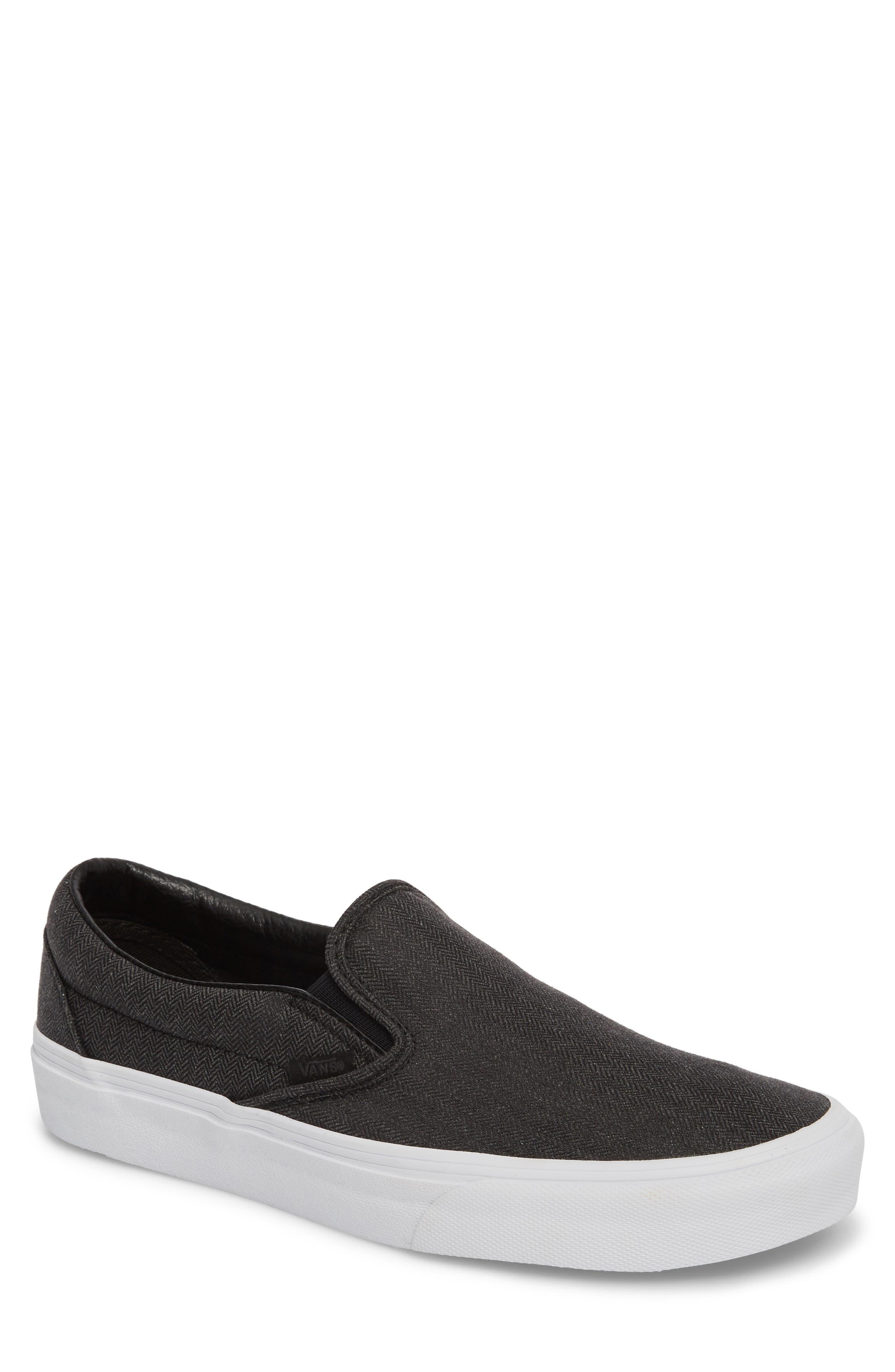 'Classic' Slip-On Sneaker,                             Main thumbnail 1, color,                             Black/ True White Fabric
