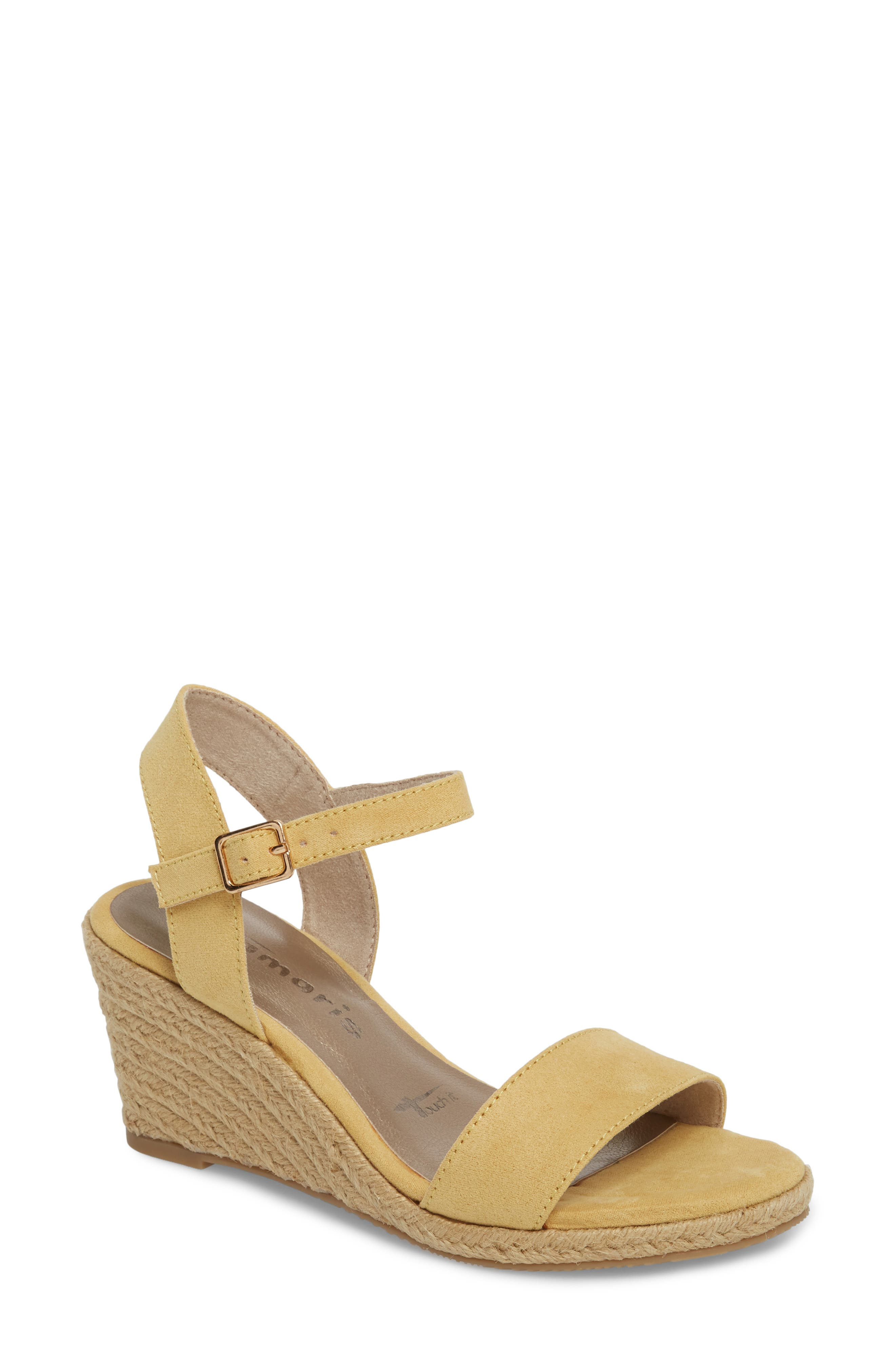 Livia Espadrille Wedge Sandal,                             Main thumbnail 1, color,                             Saffron Fabric
