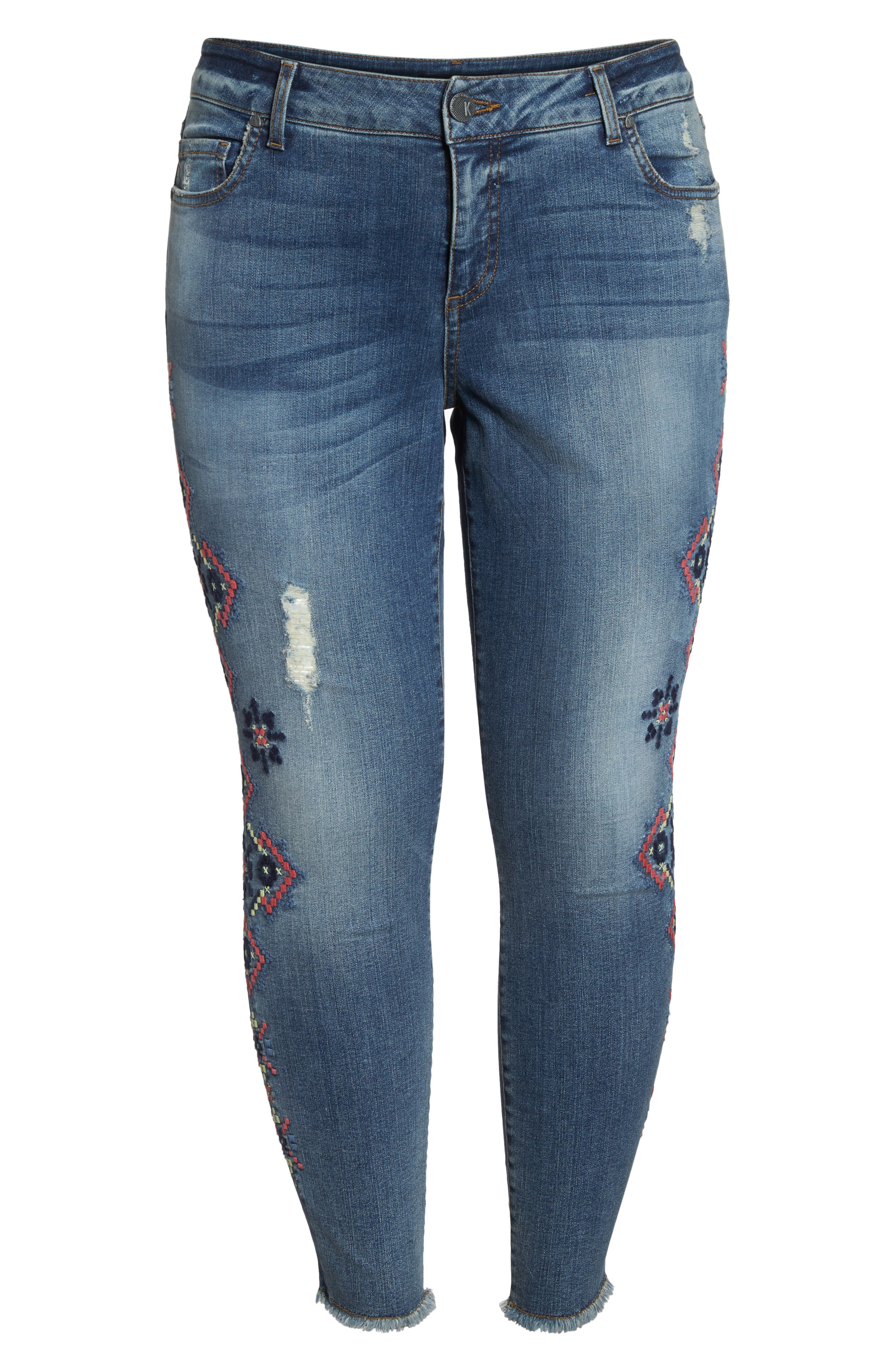 Embroidered Skinny Jeans,                             Alternate thumbnail 6, color,                             Input