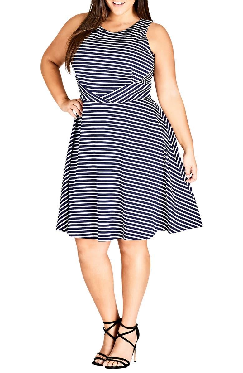 Nautical Stripe A-Line Tie Dress