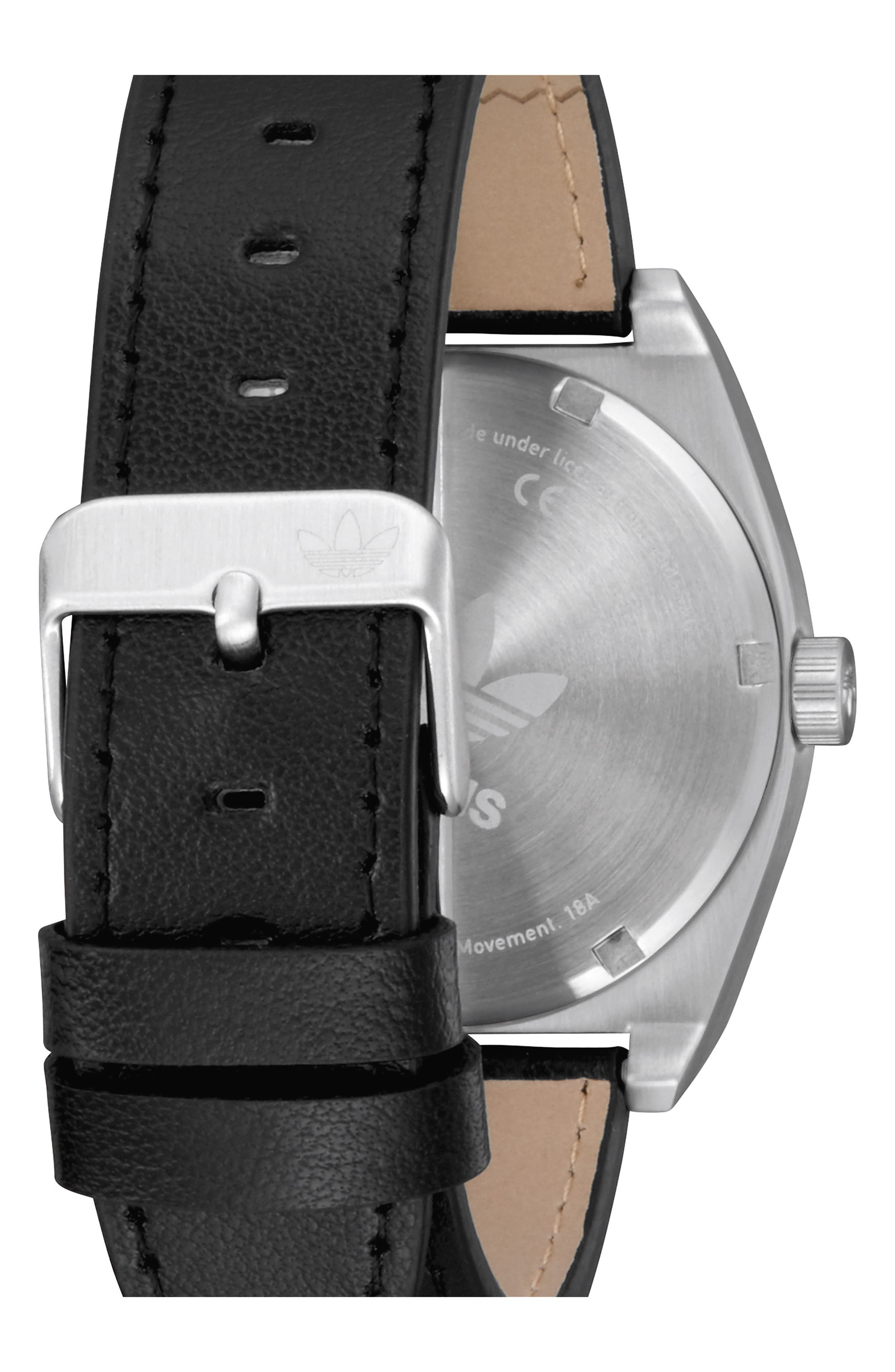 Process Leather Strap Watch, 38mm,                             Alternate thumbnail 2, color,                             Silver/ Black