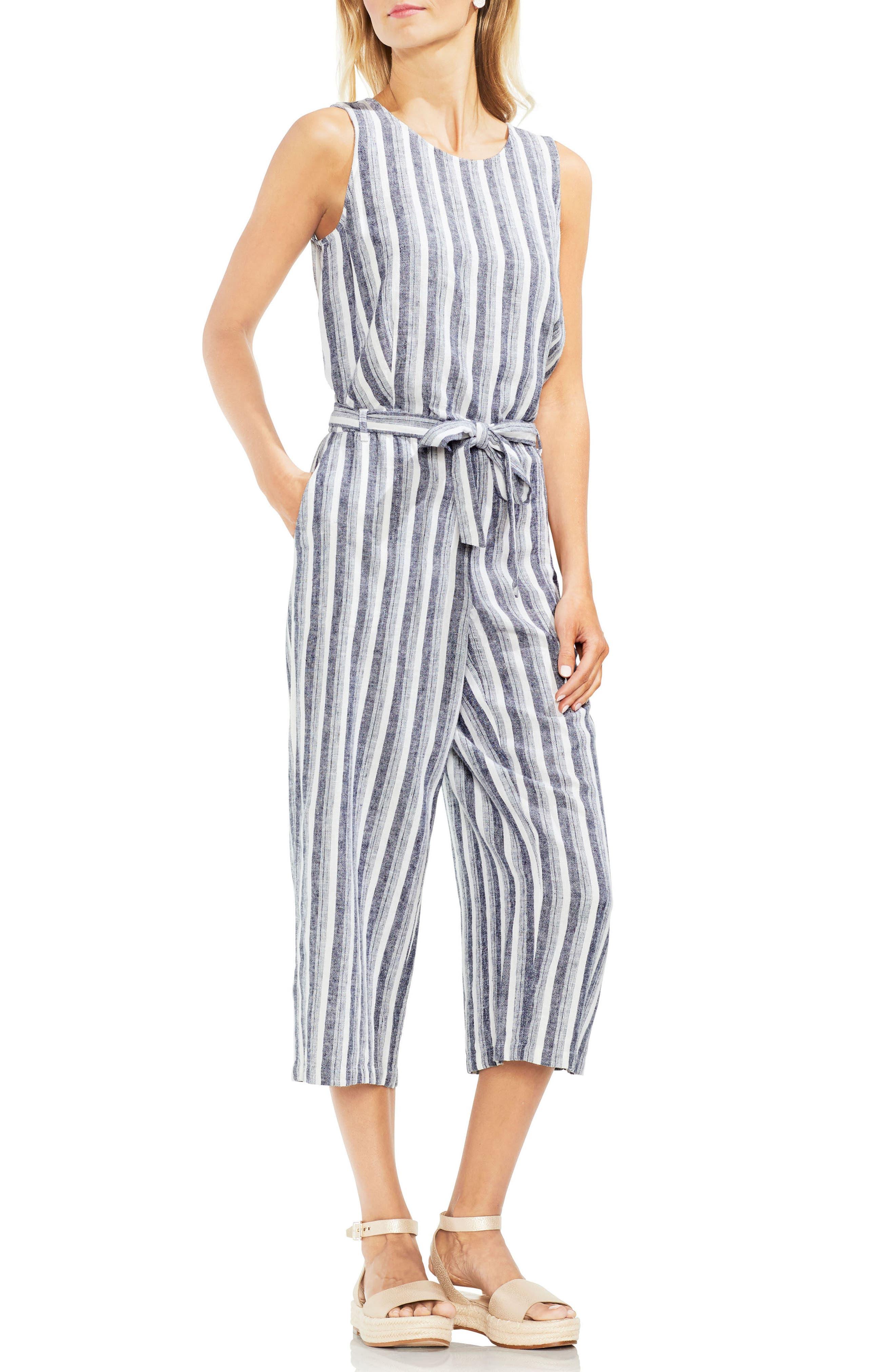 Shore Stripe Linen Blend Jumpsuit,                         Main,                         color, Ultra White