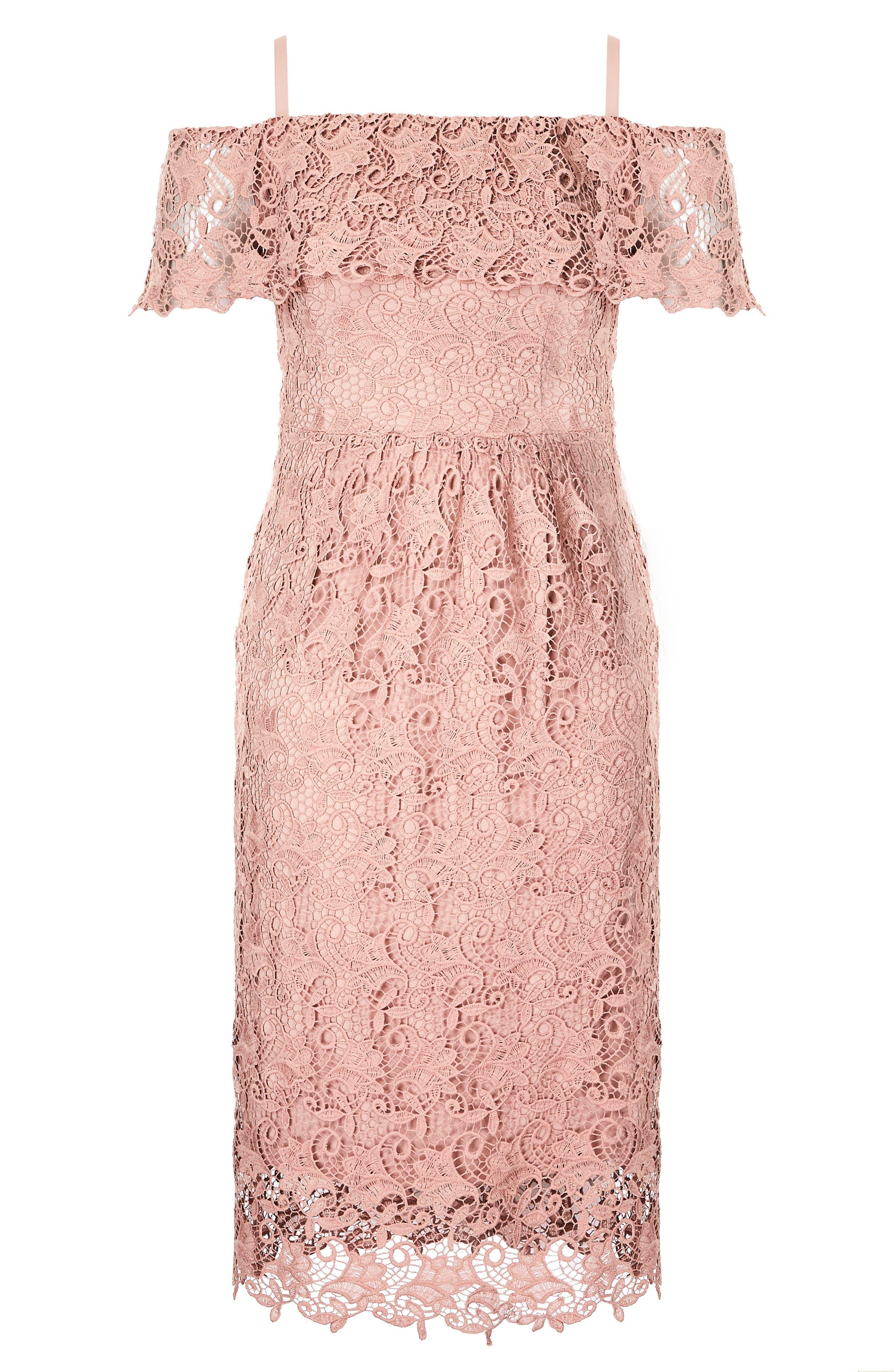 Spring Day Off the Shoulder Lace Sheath Dress,                             Alternate thumbnail 3, color,                             Ballet Pink