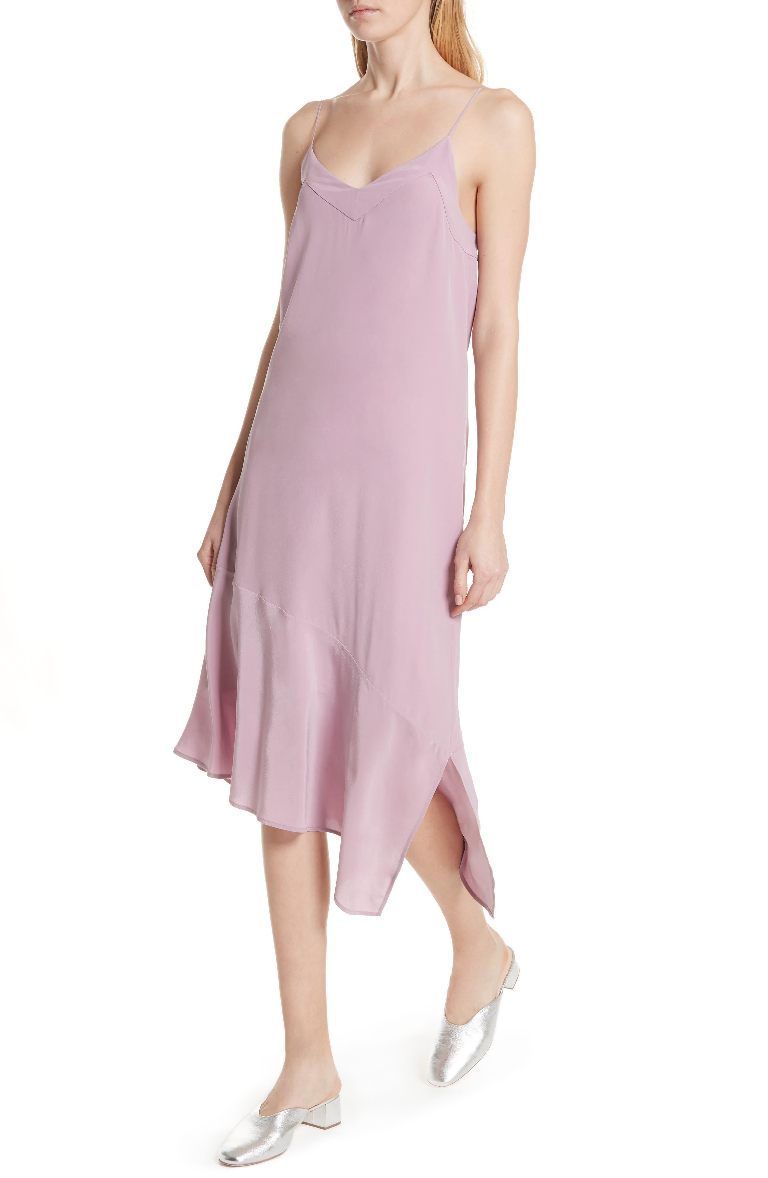 Jada Asymmetrical Silk Slip Dress,                             Alternate thumbnail 4, color,                             Orchid Smoke
