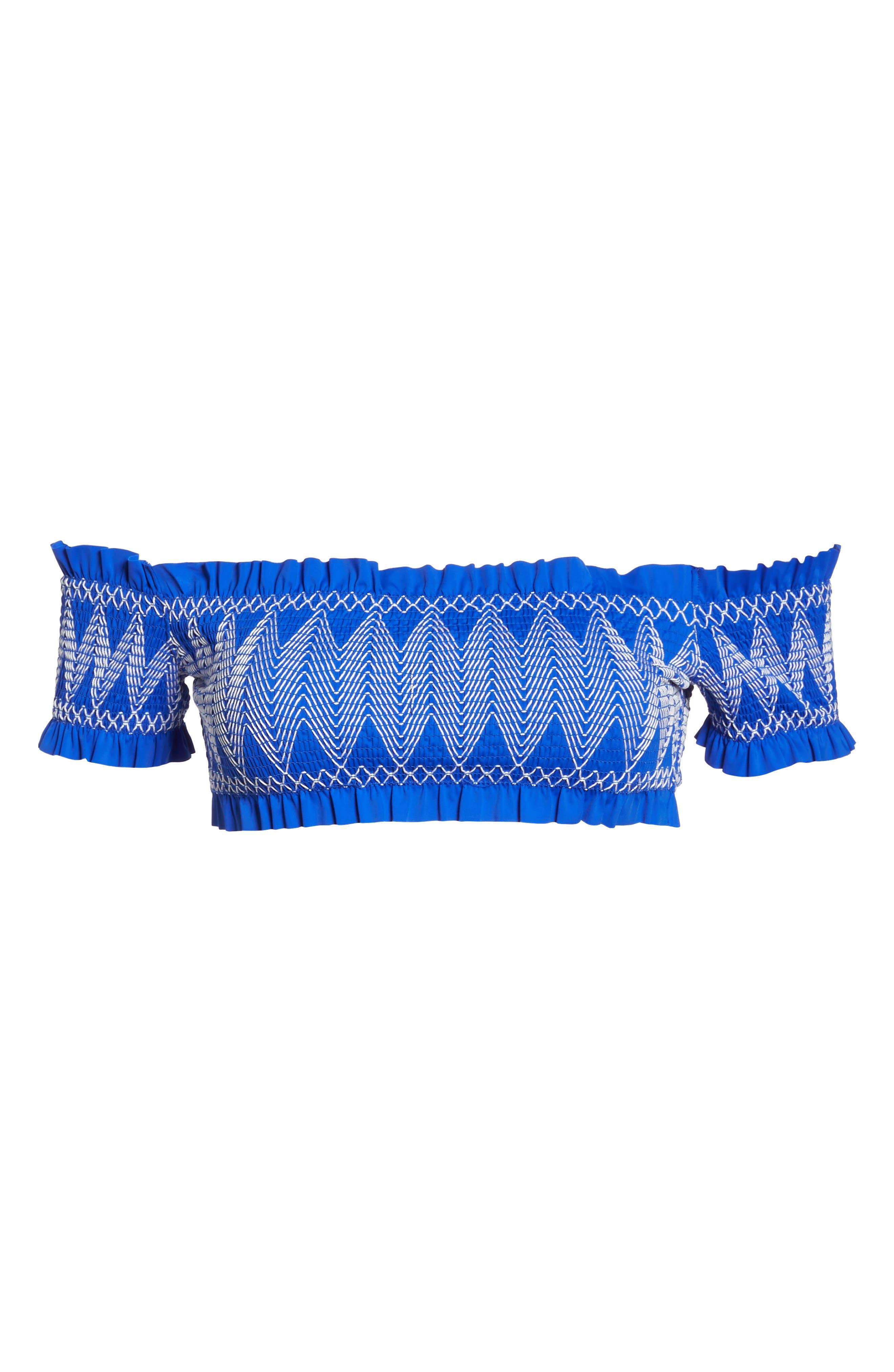 Smocked Bardot Bikini Top,                             Alternate thumbnail 9, color,                             Bright Blue