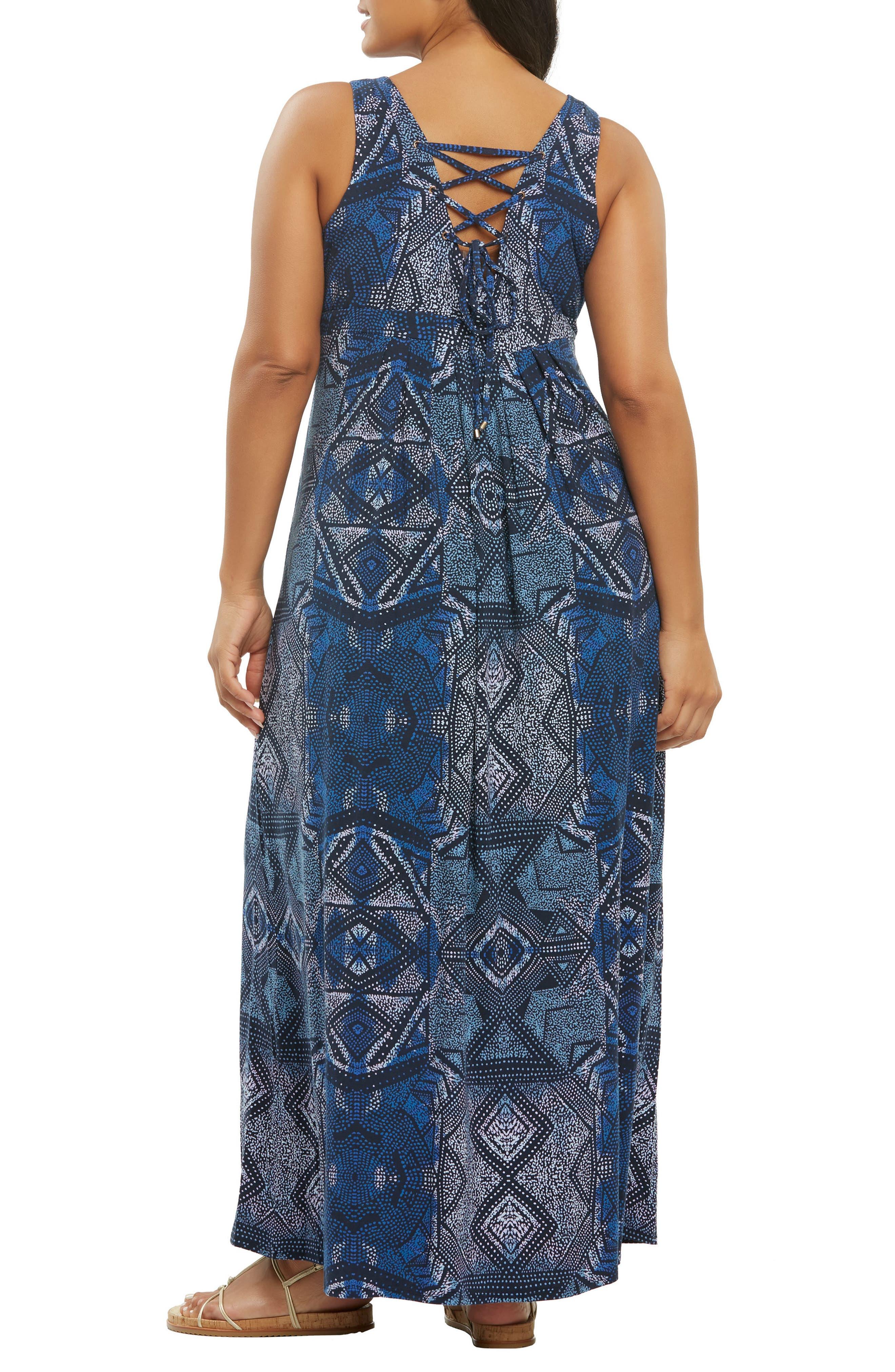 Chael Lace-Up Back Maxi Dress,                             Alternate thumbnail 2, color,                             Batik Diamonds