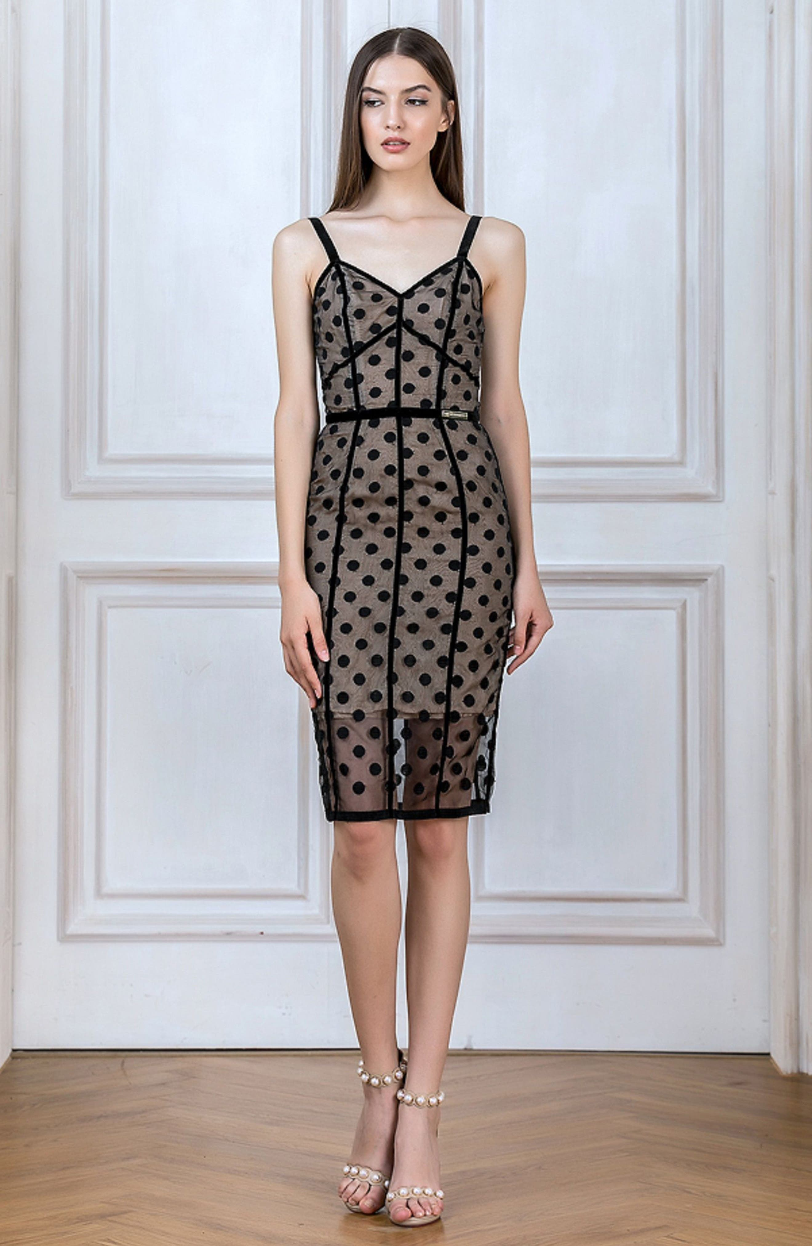 Isabella Noir Dot Embroidered Body-Con Dress,                             Alternate thumbnail 4, color,