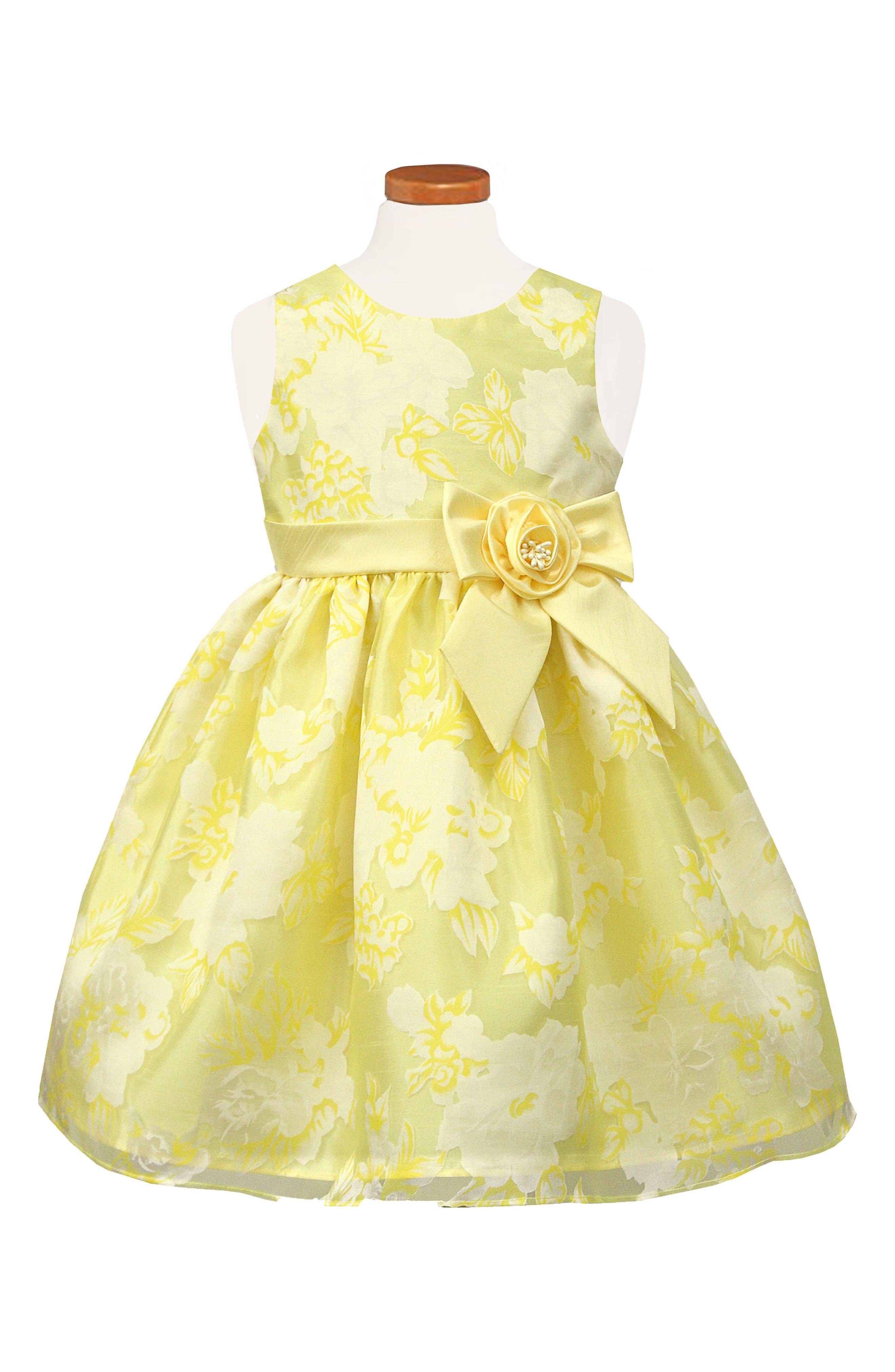 Floral Organza Dress,                             Main thumbnail 1, color,                             Yellow