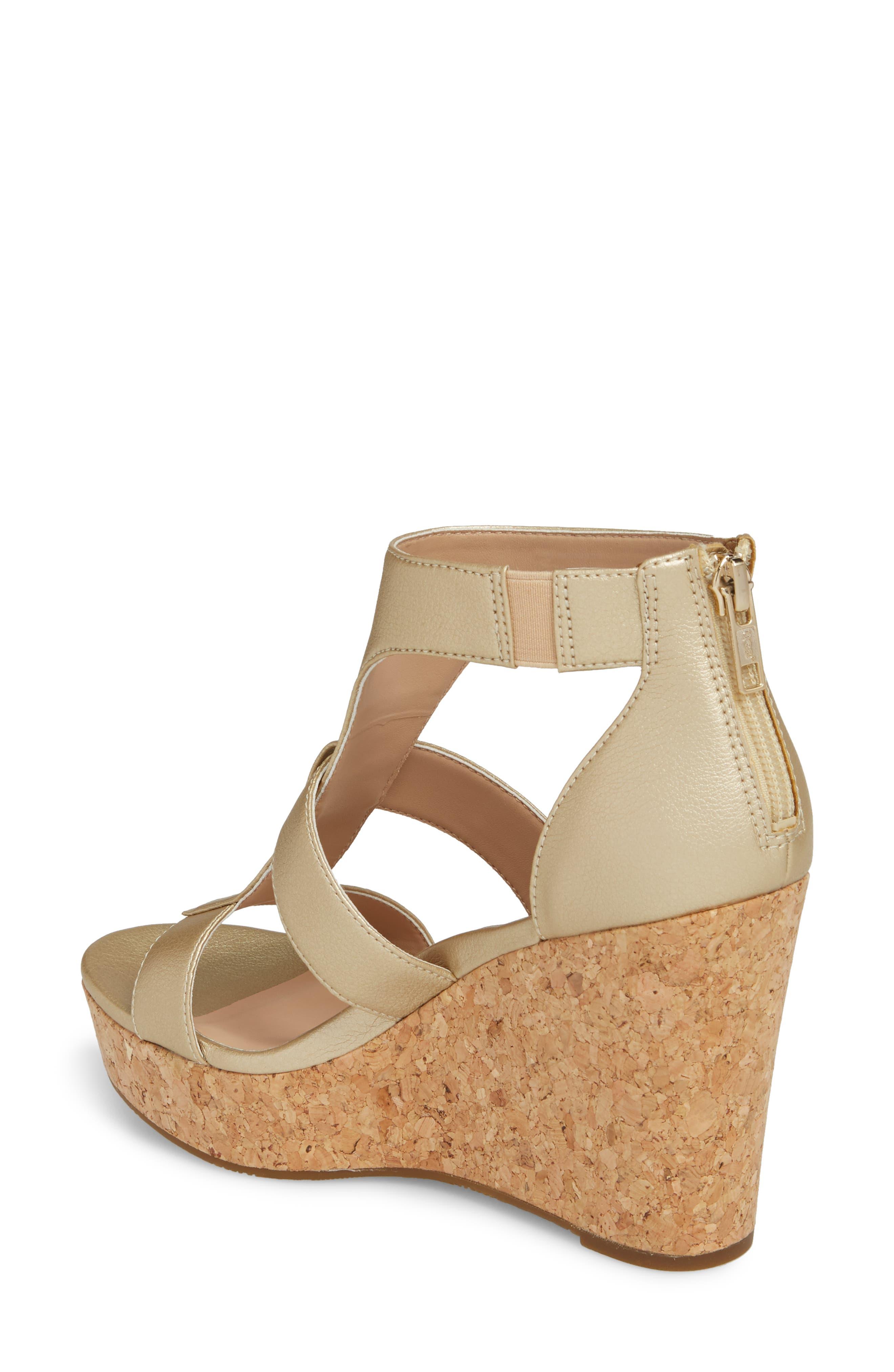 Whitney Platform Wedge Sandal,                             Alternate thumbnail 2, color,                             Gold Leather