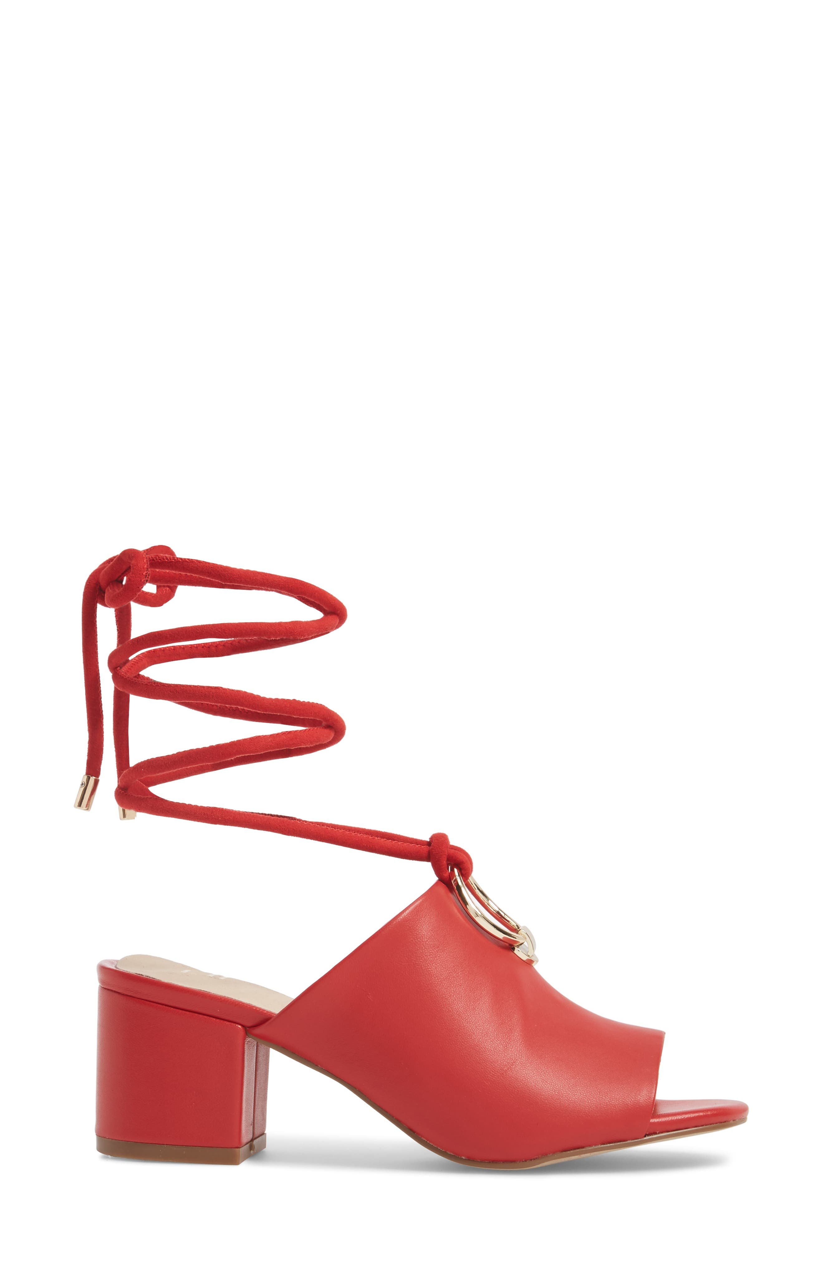 Mason Ankle Tie Sandal,                             Alternate thumbnail 3, color,                             Red Leather