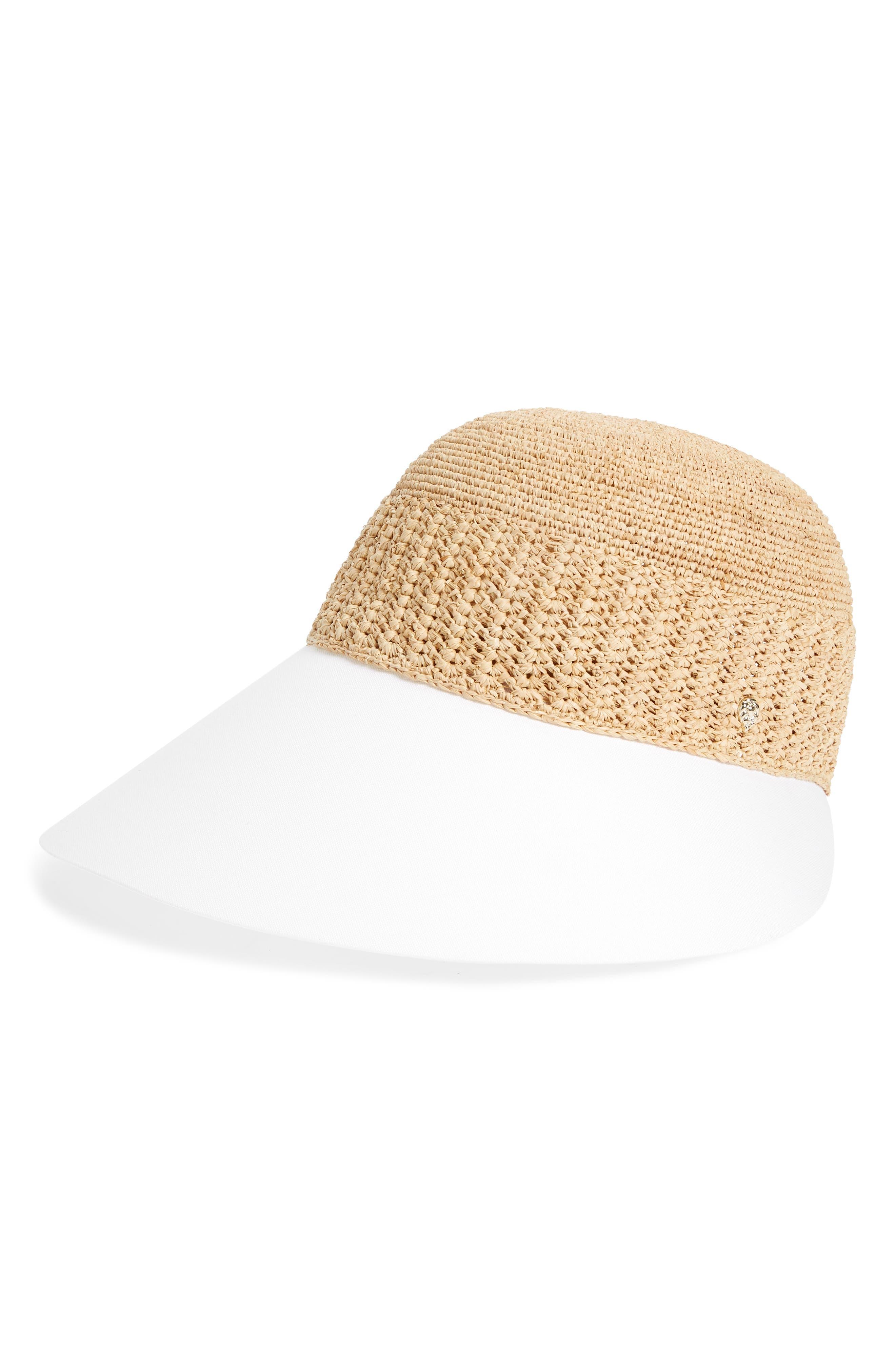 Wide Peak Raffia & Cotton Cap,                             Main thumbnail 1, color,                             Natural/ White