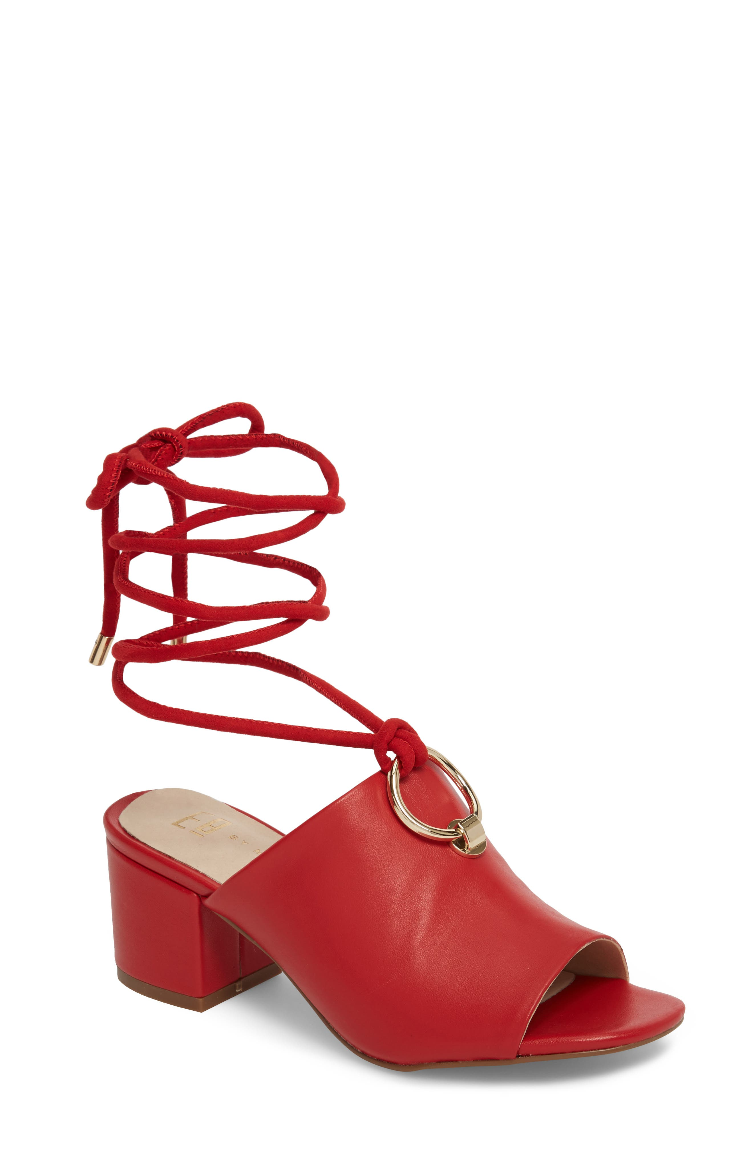 Mason Ankle Tie Sandal,                             Main thumbnail 1, color,                             Red Leather
